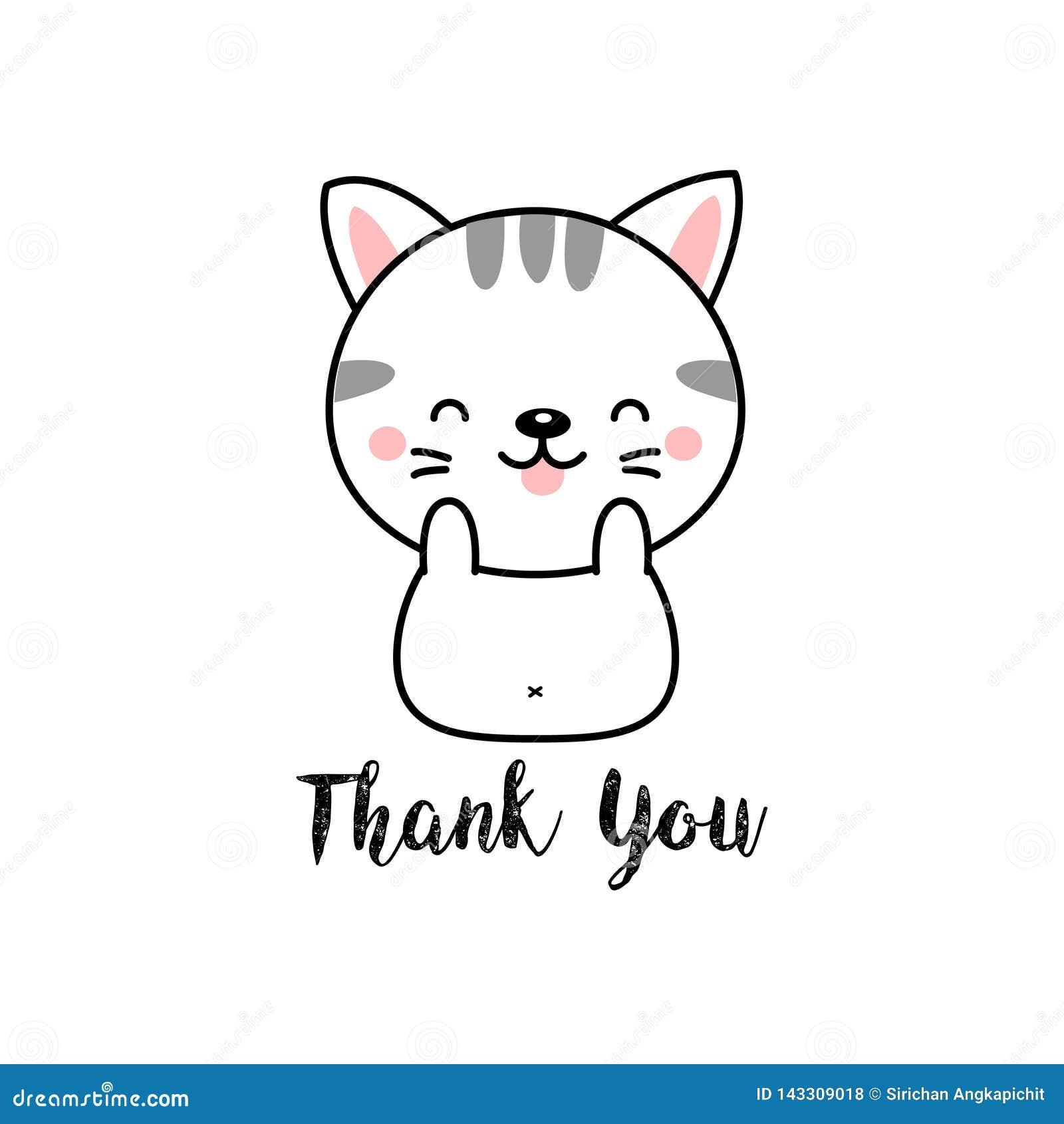 Χαριτωμένα κινούμενα σχέδια γατών με Thank εσείς που γράφετε