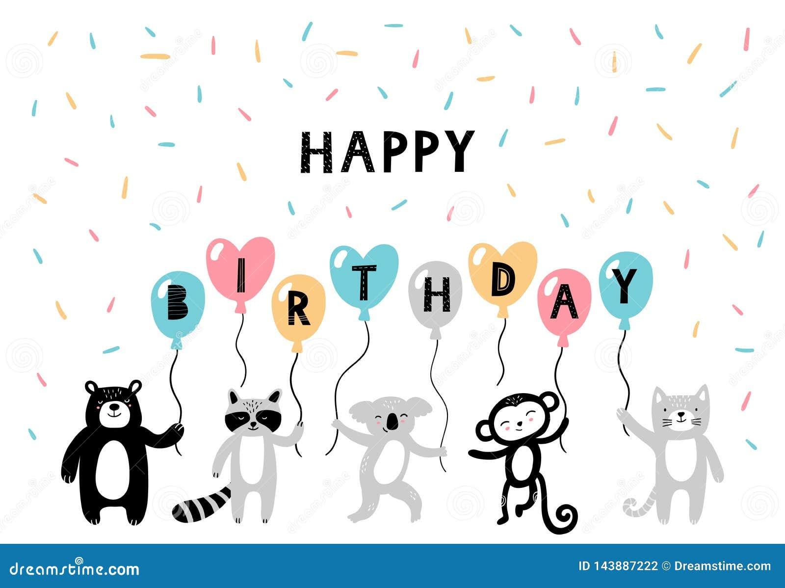 Χαριτωμένα hand-drawn ζώα στην ευτυχή κάρτα β-ημέρας Τα κινούμενα σχέδια αντέχουν, ρακούν, koala, πίθηκος και γάτα στο ύφος doodl