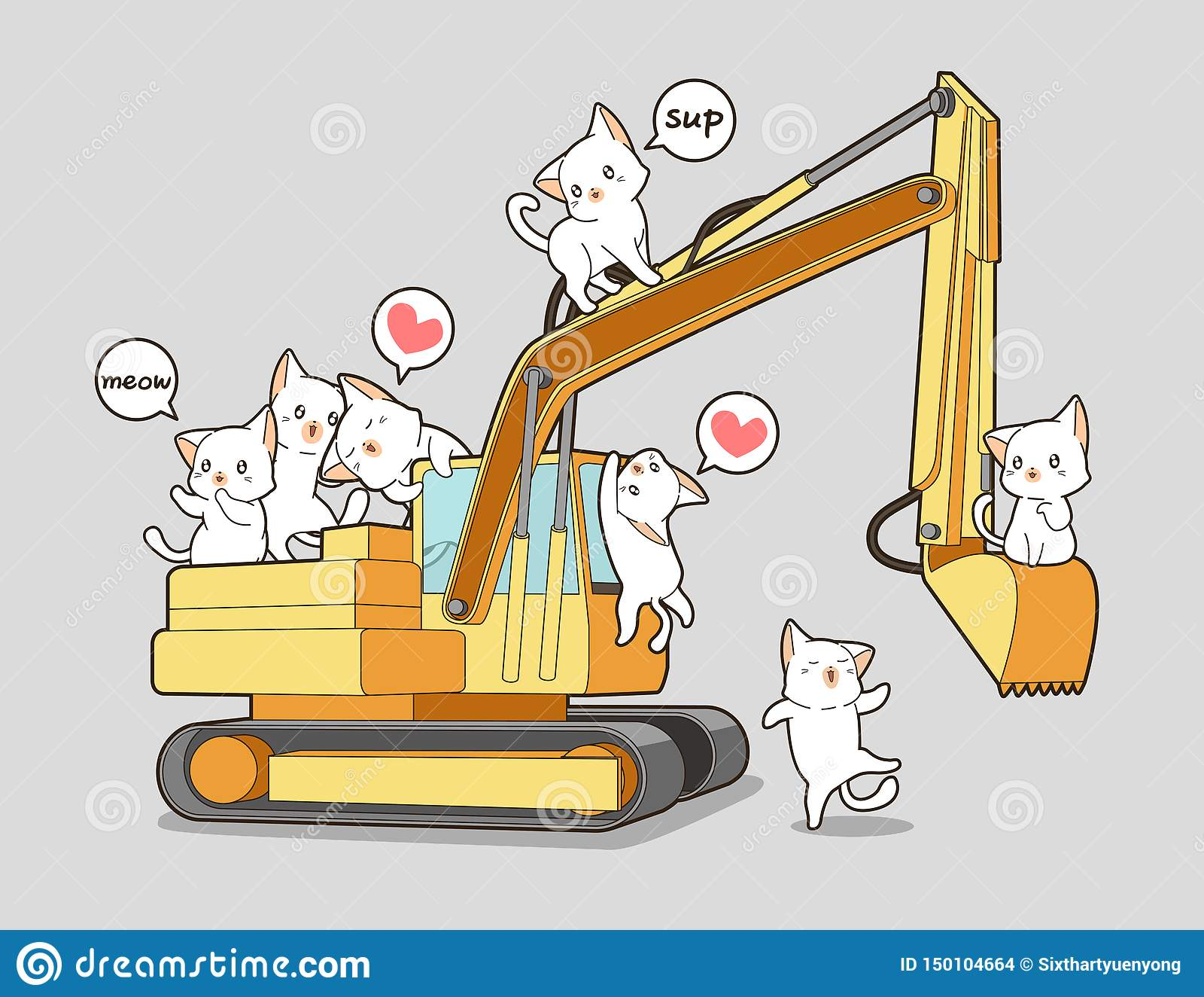 Χαριτωμένες γάτες και το τρακτέρ