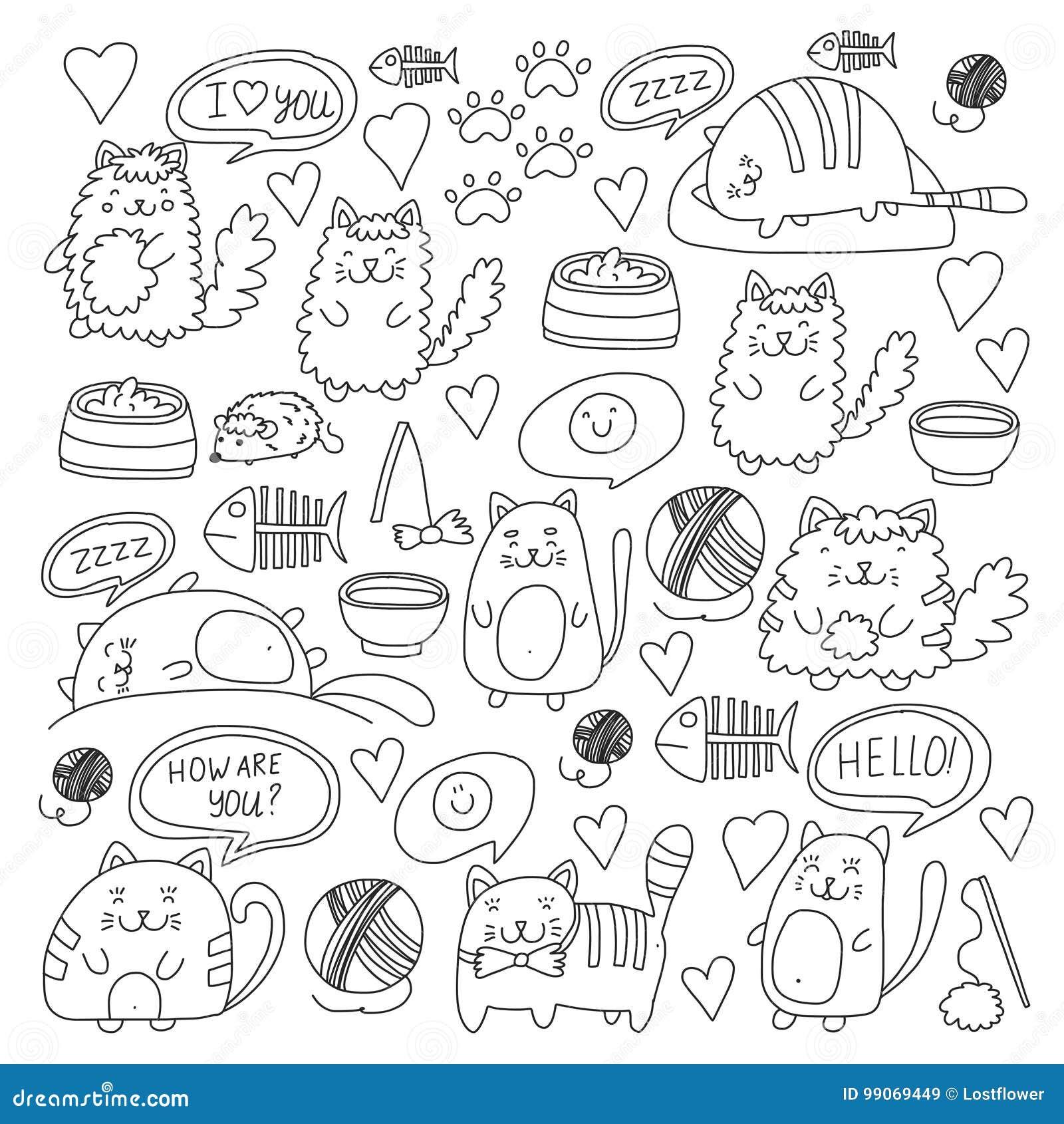 fbd293f7348 Χαριτωμένες γάτες doodle, διανυσματικά σύνολα γατών γατακιών εσωτερικά με  τα χαριτωμένα γατάκια για το κατάστημα