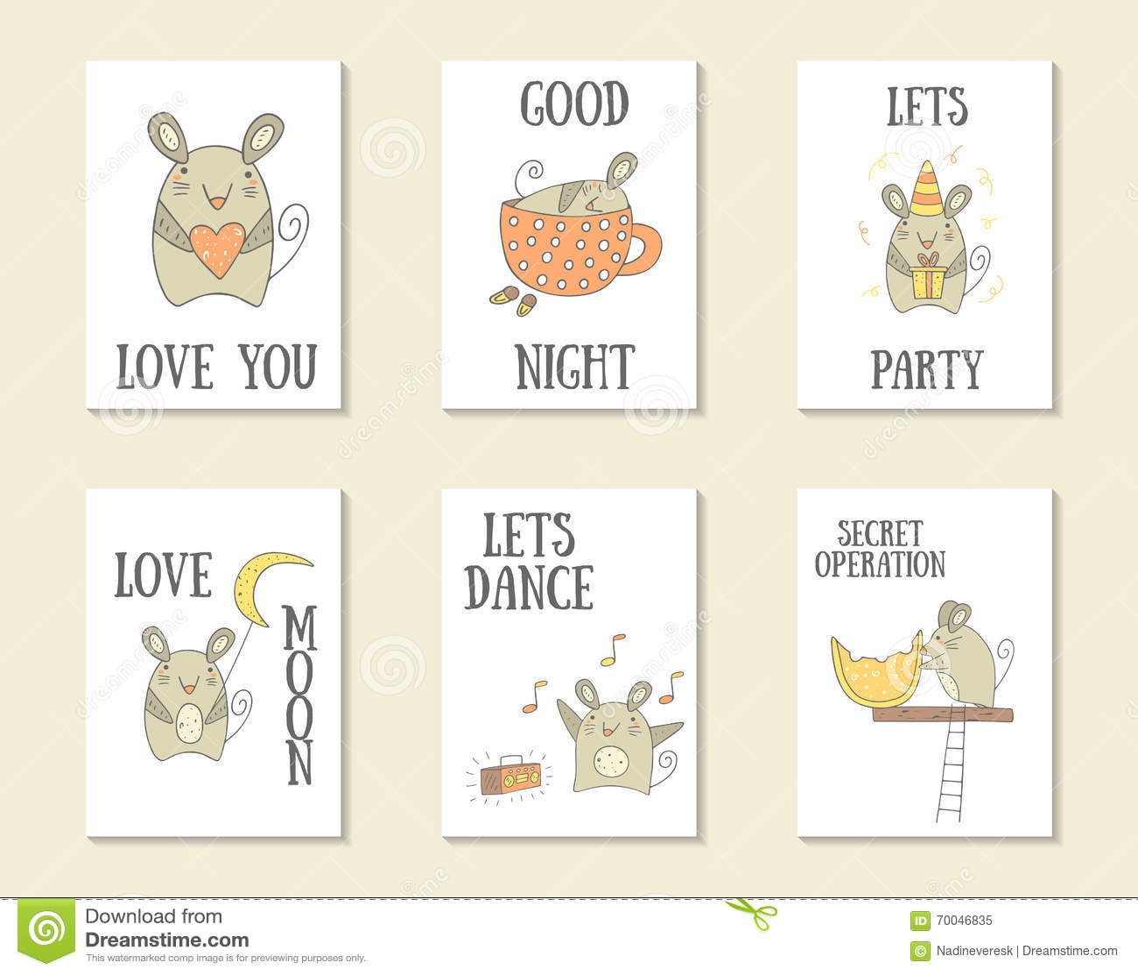 Χαριτωμένες συρμένες χέρι doodle κάρτες
