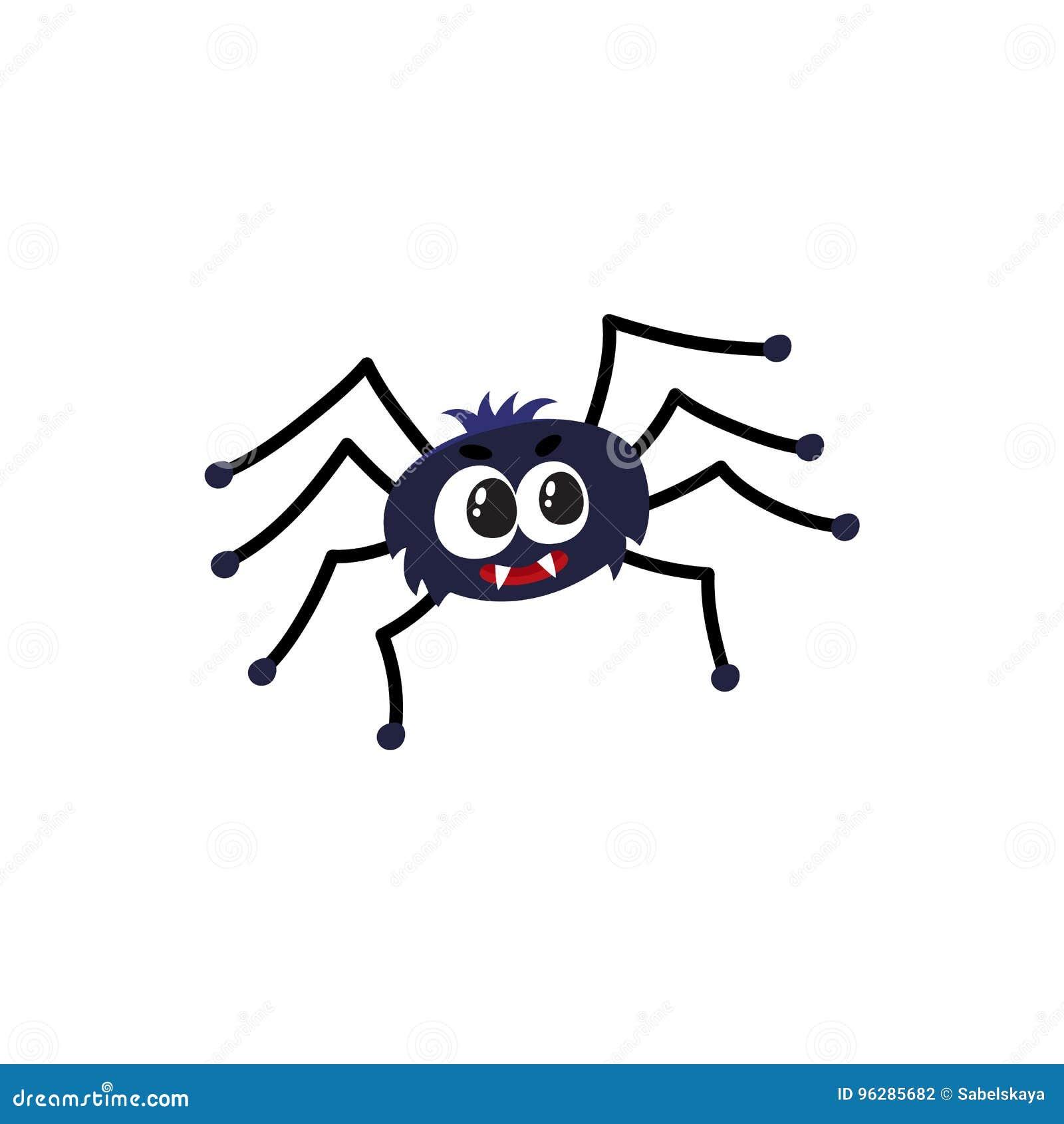 Χαριτωμένη, αστεία μαύρη αράχνη, παραδοσιακό σύμβολο αποκριών, διανυσματική απεικόνιση κινούμενων σχεδίων