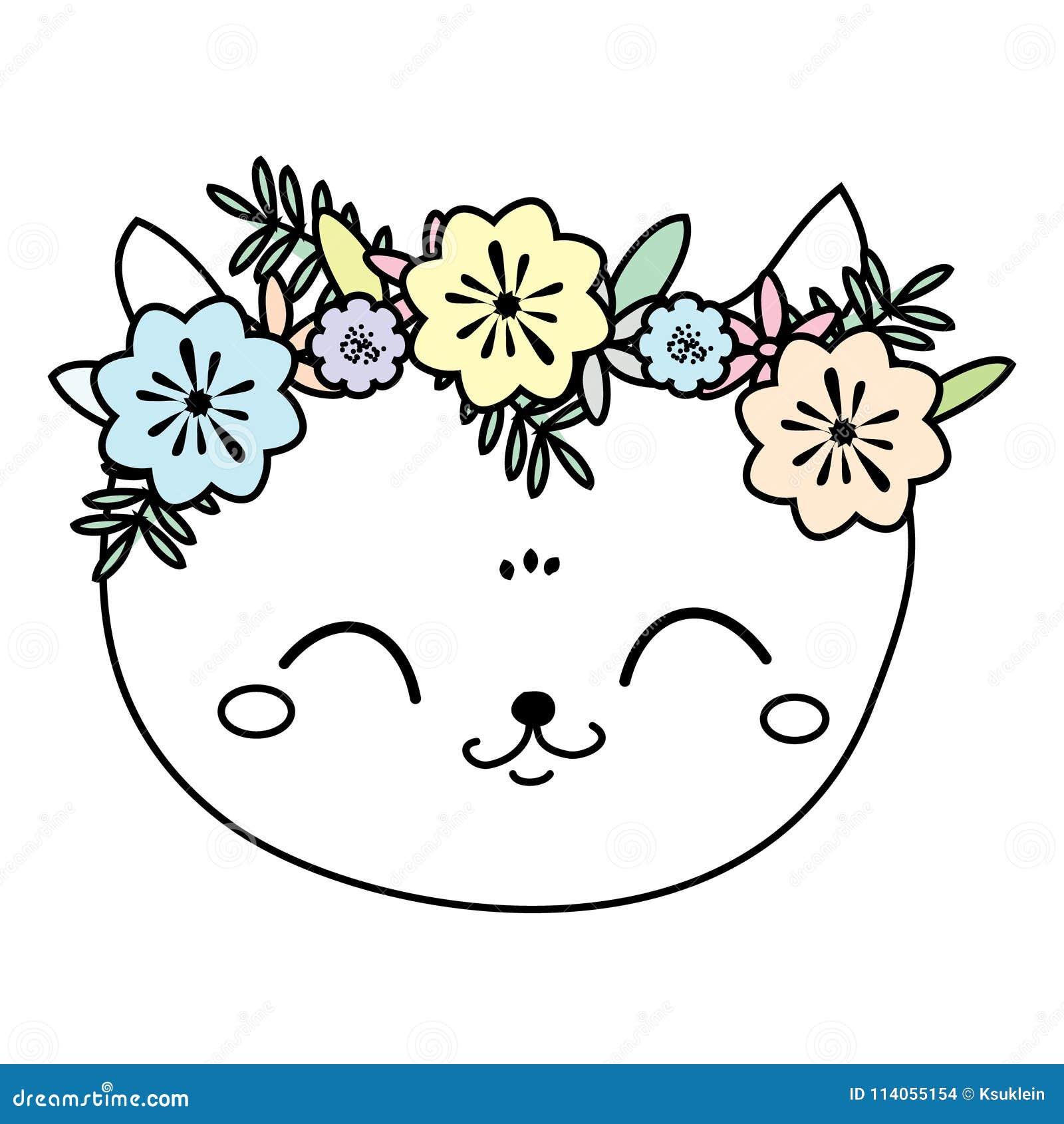 Χαριτωμένη γάτα στο στεφάνι λουλουδιών Γλυκό πρόσωπο γατακιών, θερινή διάθεση