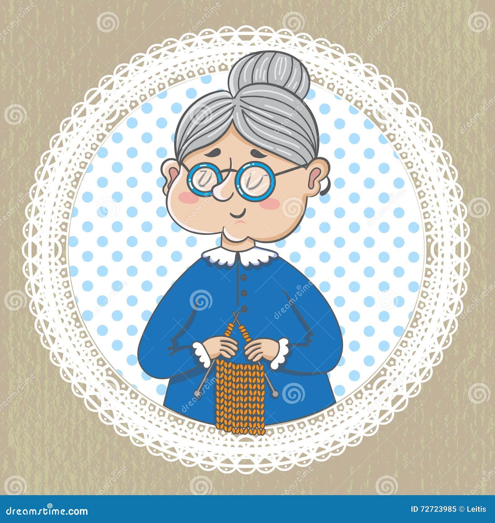 Χαριτωμένη γιαγιά με με το πλέξιμο