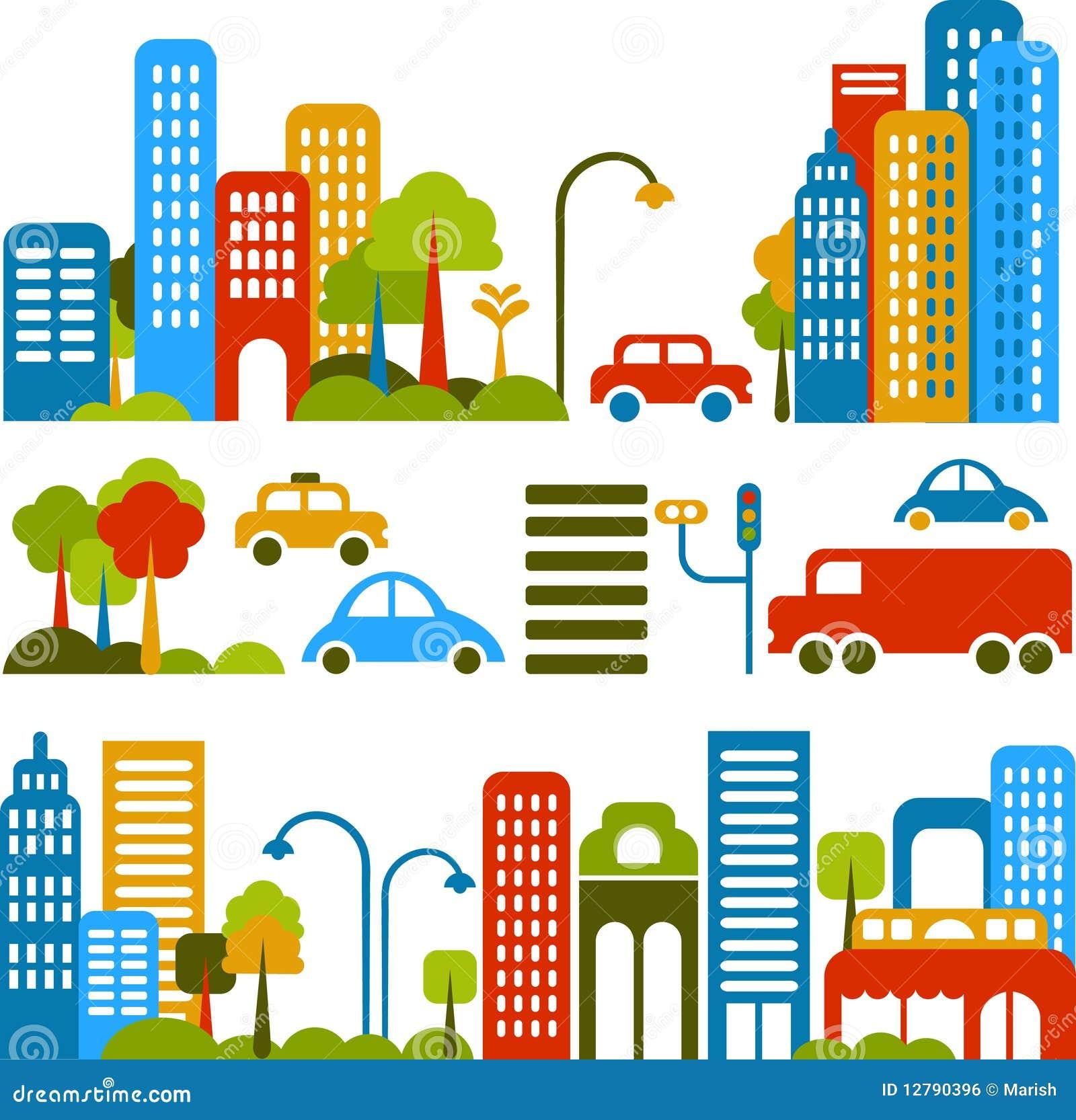 Χαριτωμένη διανυσματική απεικόνιση μιας οδού πόλεων