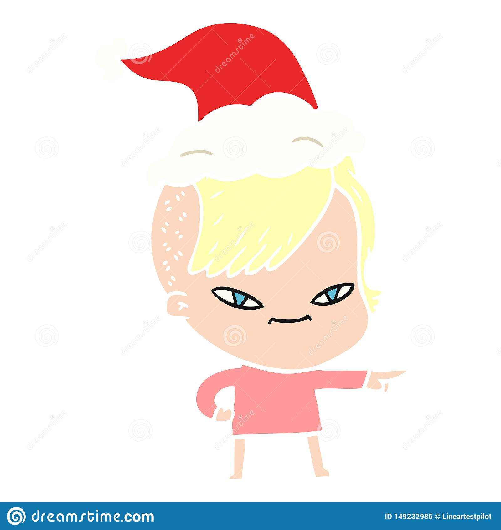 χαριτωμένη επίπεδη έγχρωμη εικονογράφηση ενός κοριτσιού με το κούρεμα hipster που φορά το καπέλο santa