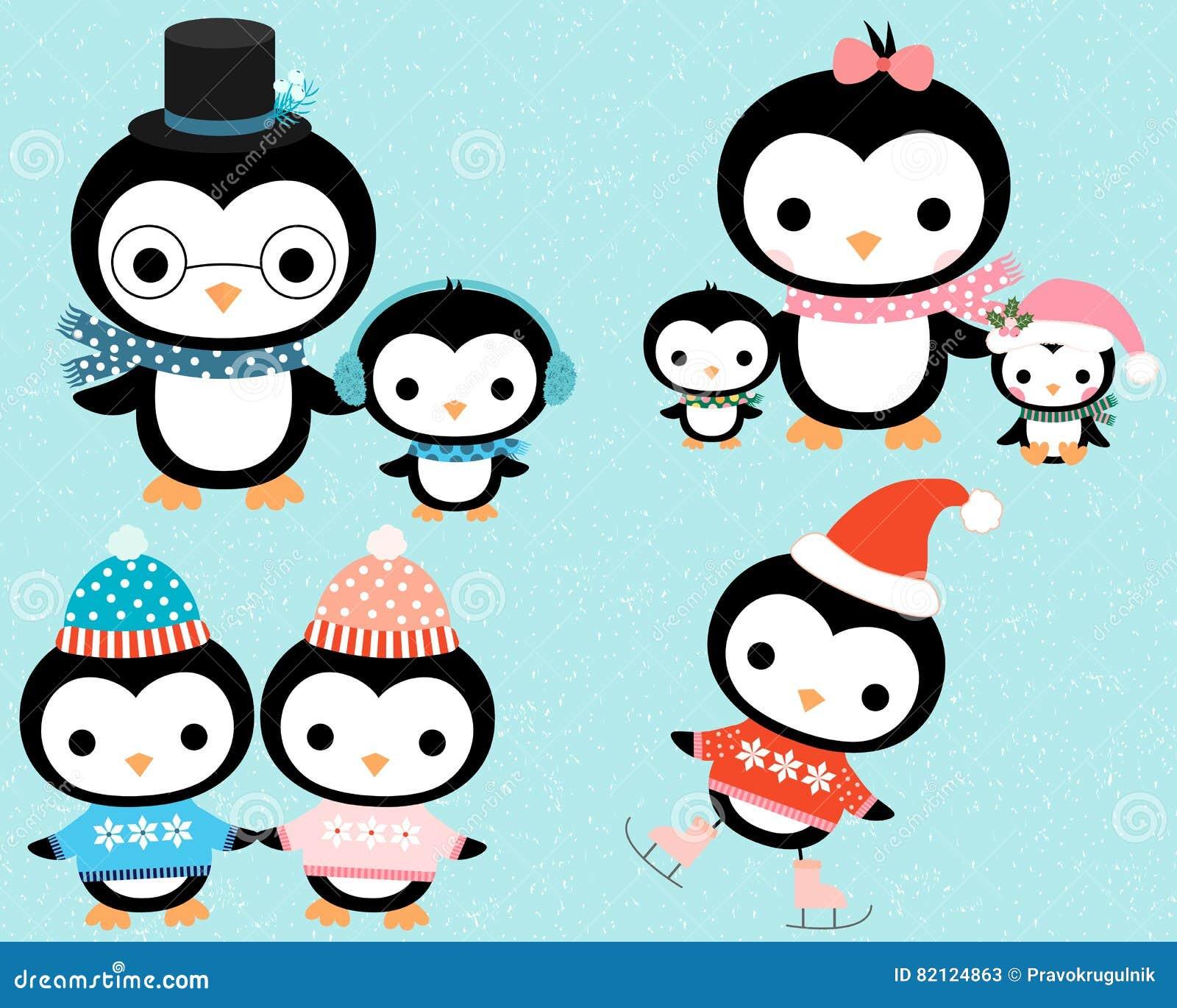 Χαριτωμένη χειμερινή penguin οικογένεια κινούμενων σχεδίων