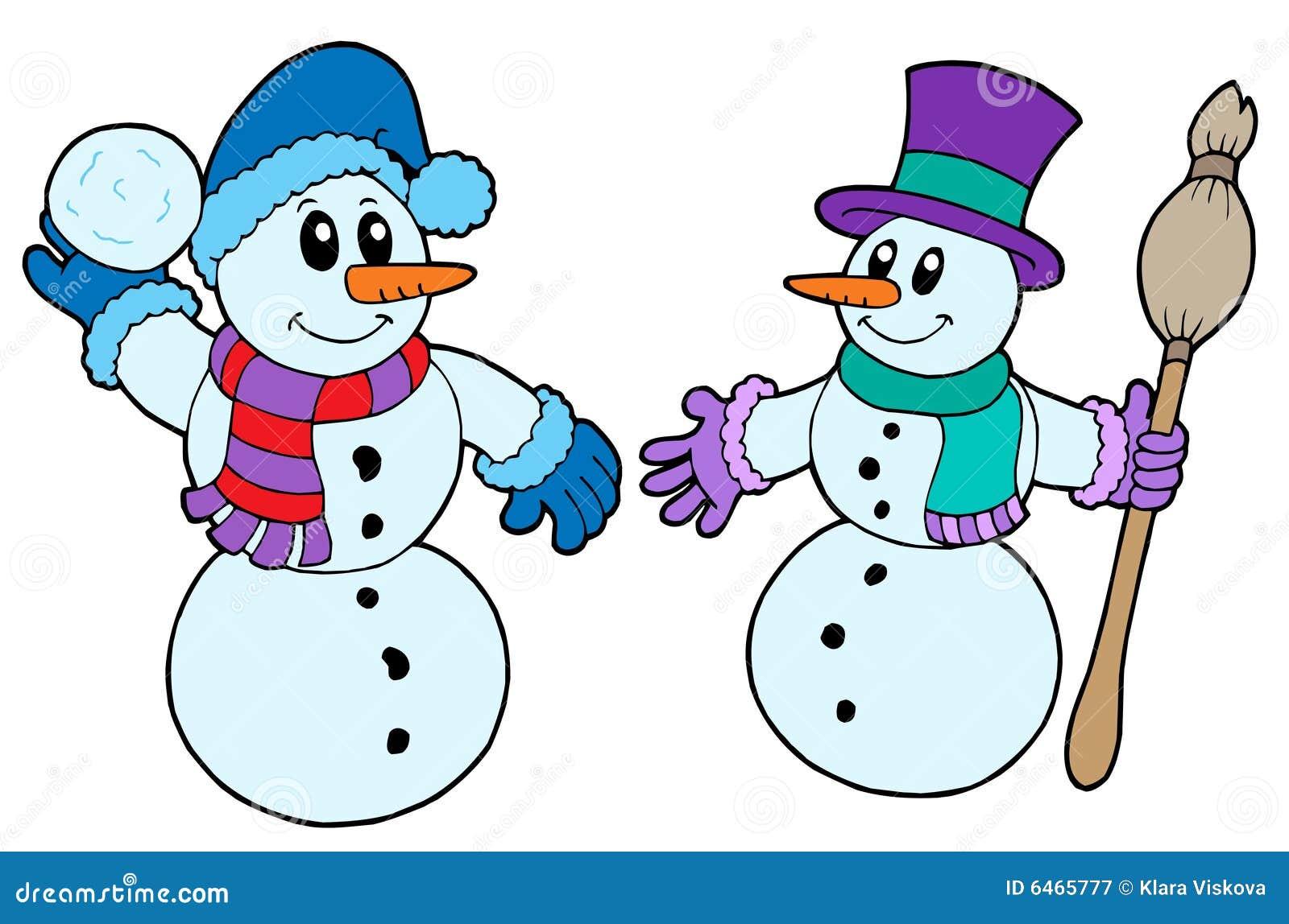 χαριτωμένοι χιονάνθρωποι ζευγαριού