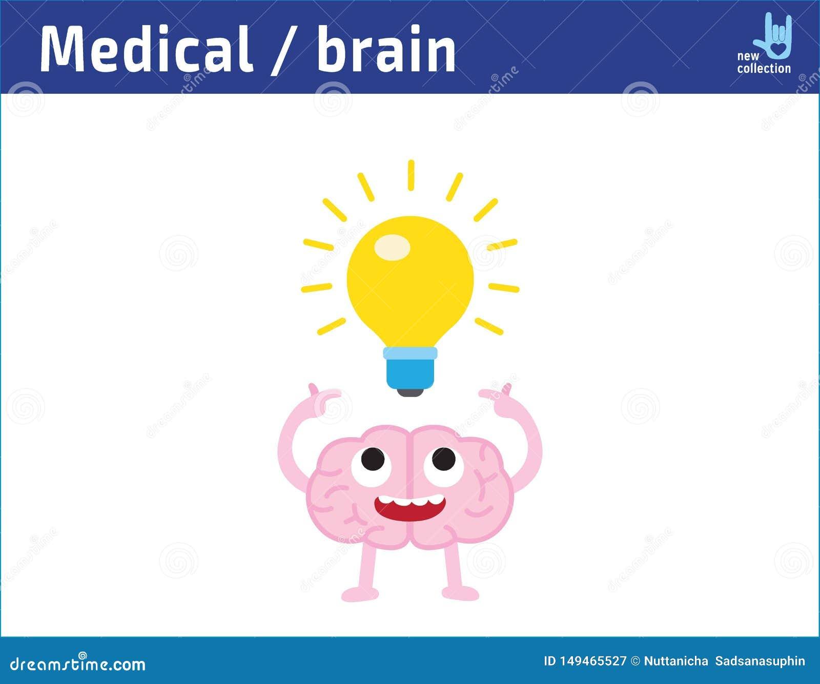 Χαριτωμένος εγκέφαλος προσώπου κινούμενων σχεδίων ευτυχής με την κατοχή μιας ιδέας lightbulb, δημιουργικό σχέδιο ιδέας έμπνευση