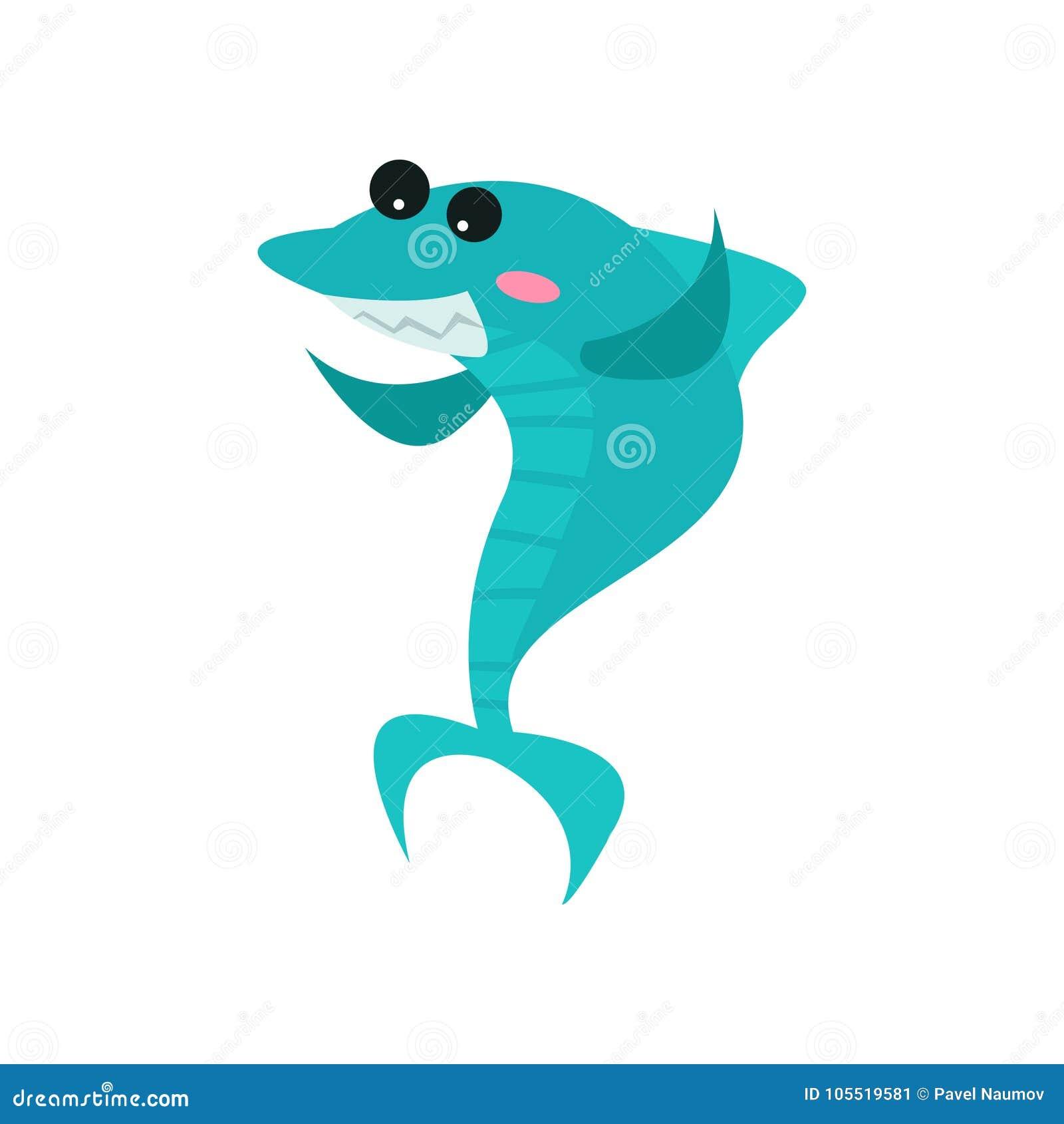 Χαριτωμένος εύθυμος χαρακτήρας κινουμένων σχεδίων καρχαριών, αστεία μπλε διανυσματική απεικόνιση ψαριών