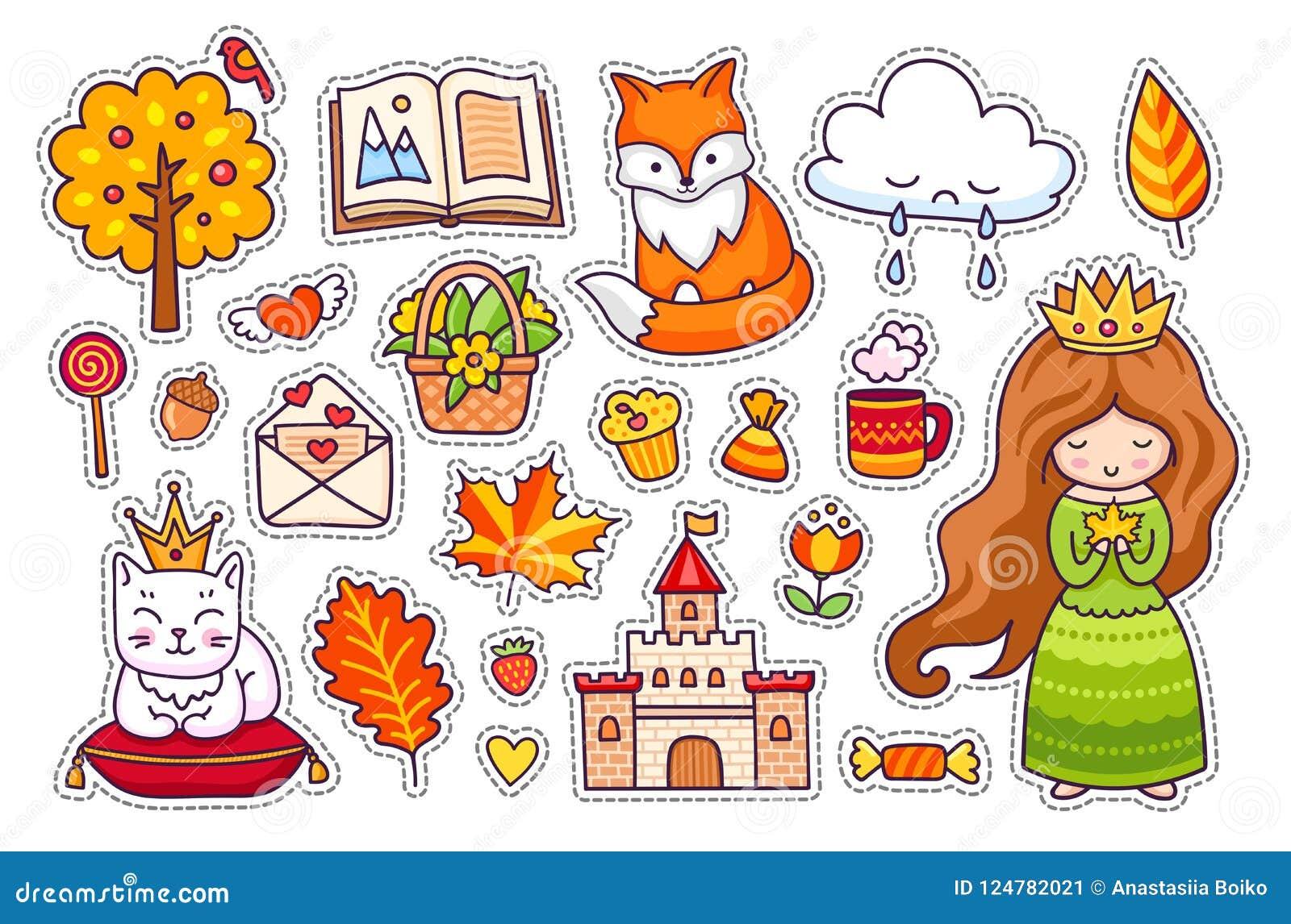 Χαριτωμένος λίγη πριγκήπισσα, αλεπού, άσπρη γάτα με την κορώνα, κάστρο, γατάκι, δέντρο φθινοπώρου, ανοικτό βιβλίο, φύλλα, σύννεφα