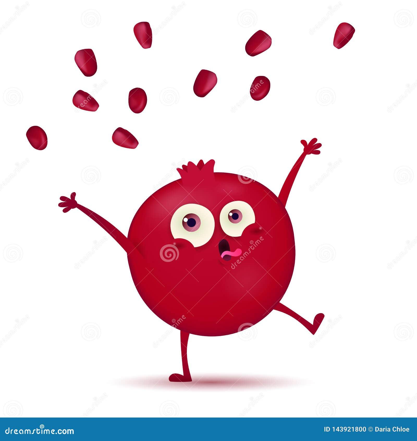Χαριτωμένος λίγος σκούρο κόκκινο χαρακτήρας φρούτων ροδιών με την αστεία έκφραση που απομονώνεται σε ένα άσπρο υπόβαθρο