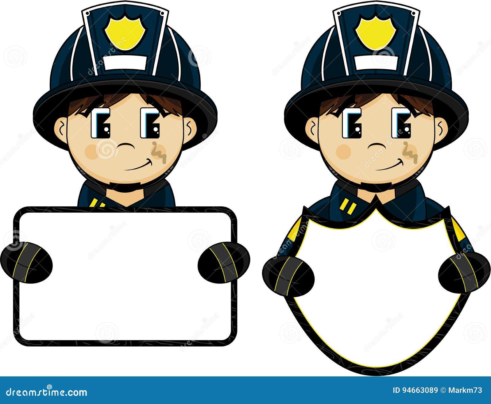 Χαριτωμένος πυροσβέστης κινούμενων σχεδίων - πυροσβέστης