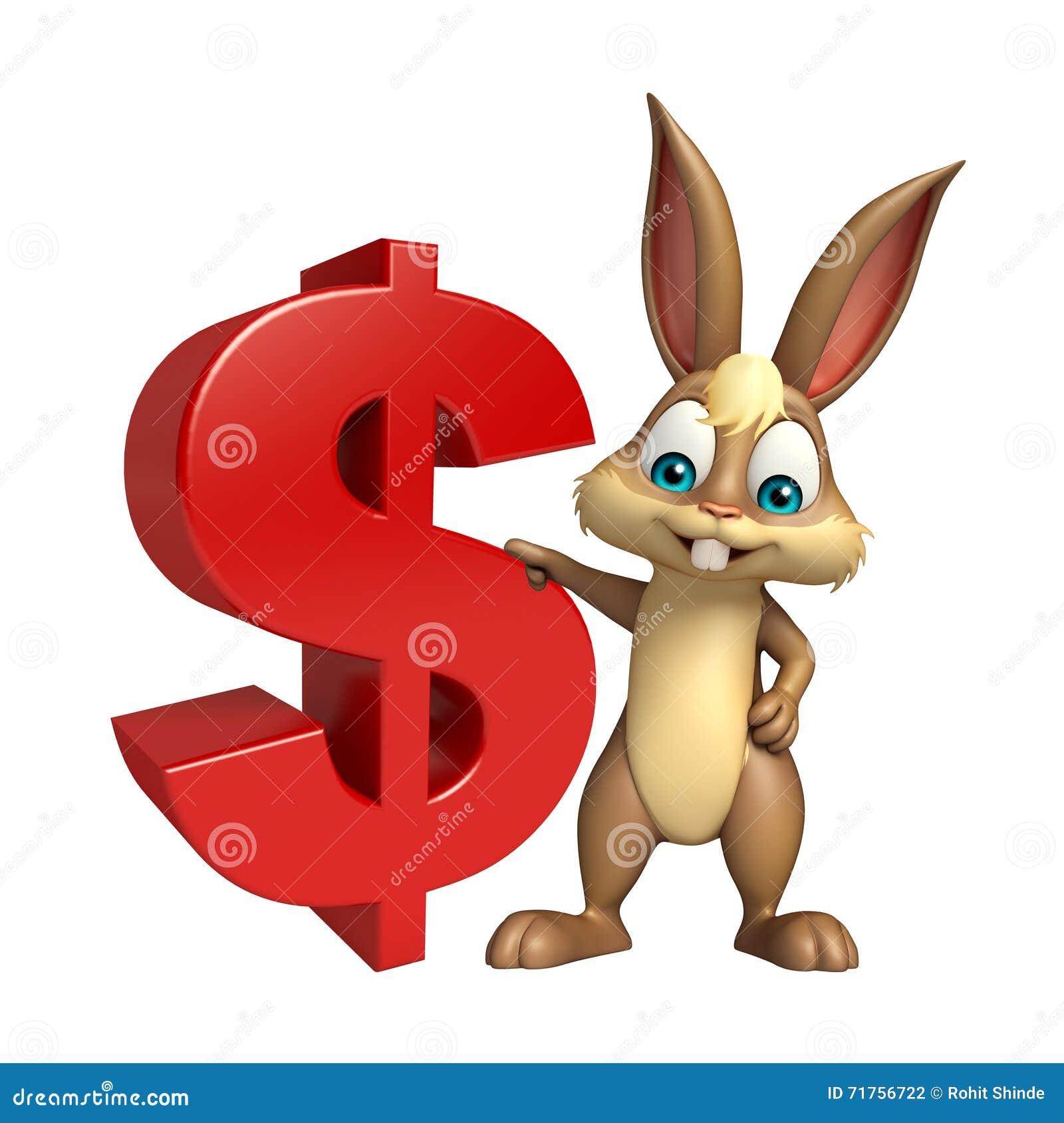 Χαριτωμένος χαρακτήρας κινουμένων σχεδίων λαγουδάκι με το σημάδι δολαρίων