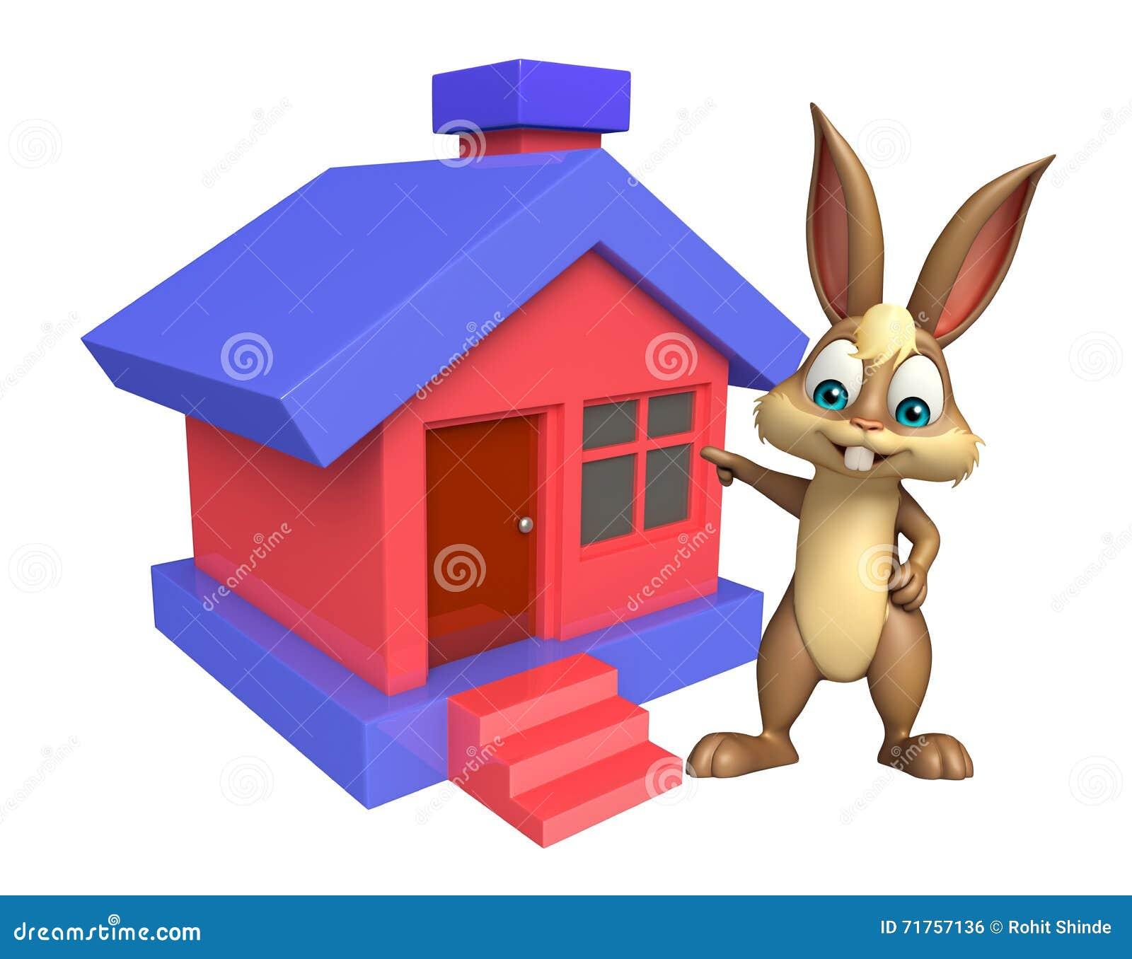 Χαριτωμένος χαρακτήρας κινουμένων σχεδίων λαγουδάκι με το σπίτι
