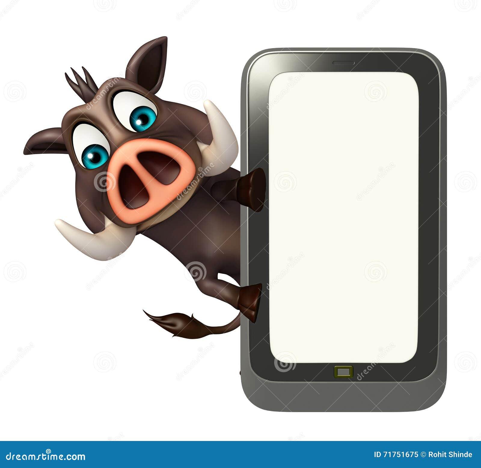Χαριτωμένος χαρακτήρας κινουμένων σχεδίων κάπρων με κινητό