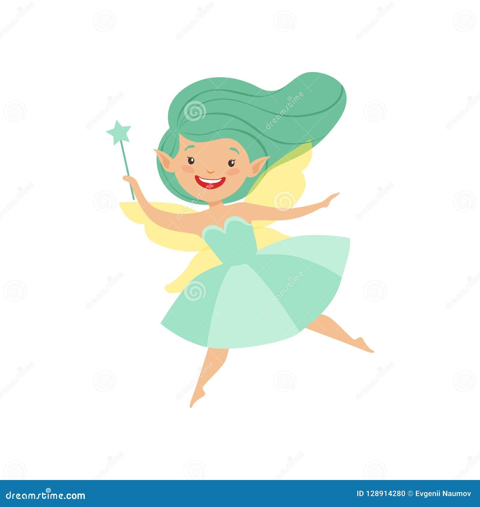 Χαριτωμένος όμορφος λίγη φτερωτή νεράιδα, καλό κορίτσι με μακρυμάλλη και φόρεμα στην τυρκουάζ διανυσματική απεικόνιση χρωμάτων στ