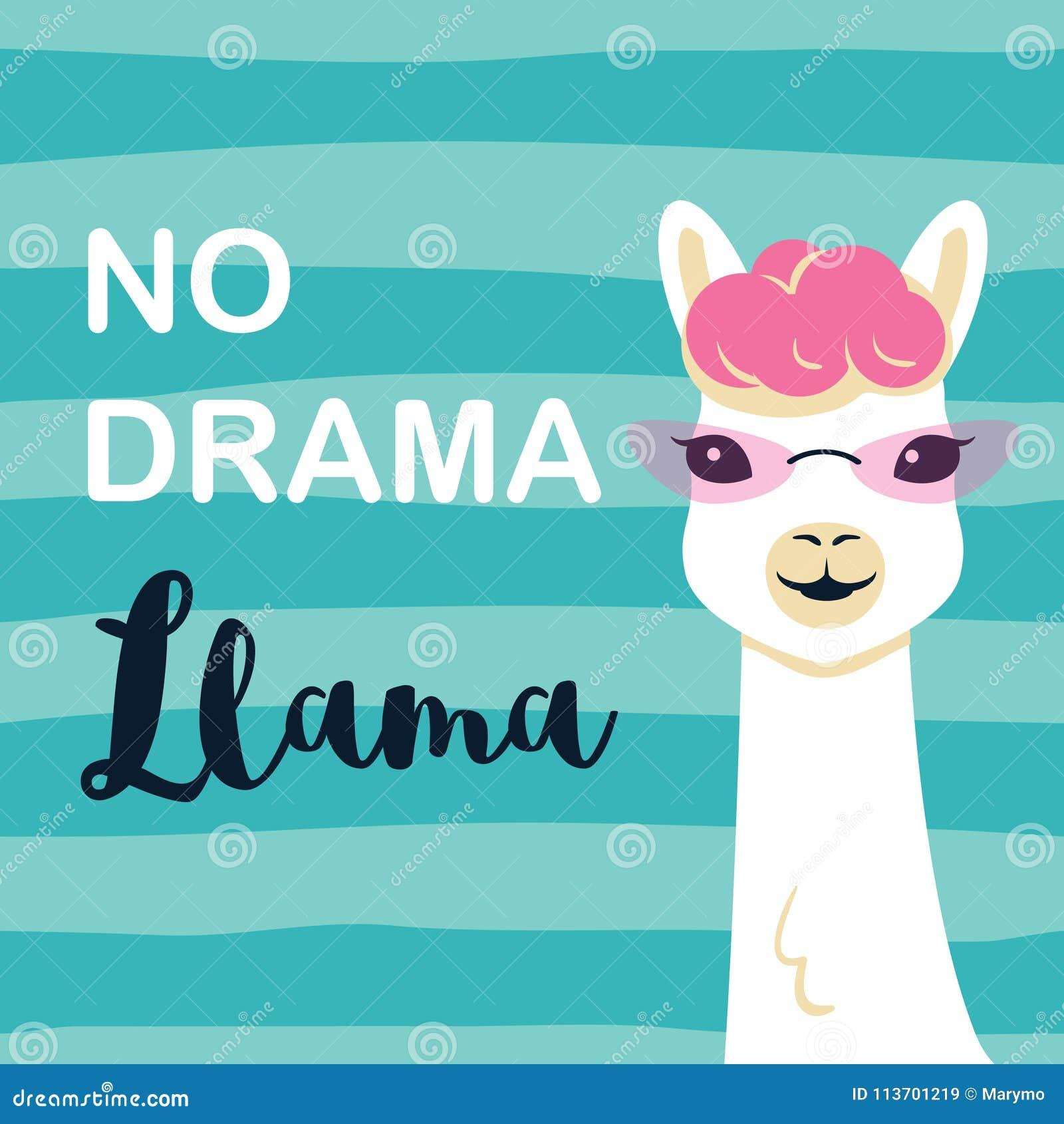 Χαριτωμένος llama κινούμενων σχεδίων χαρακτήρας χωρίς llama δράματος το κινητήριο απόσπασμα