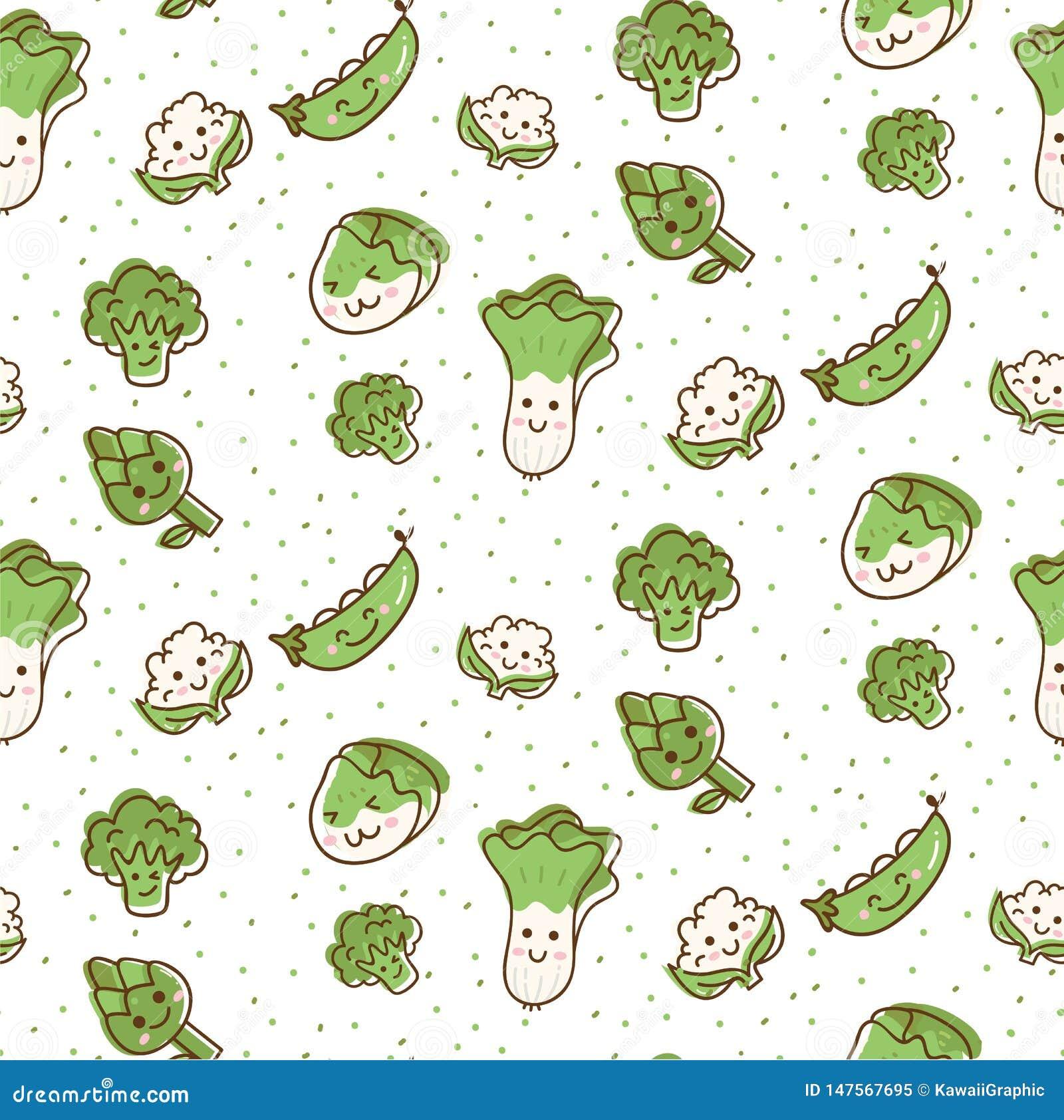 Χαριτωμένο άνευ ραφής σχέδιο λαχανικών στη διανυσματική απεικόνιση ύφους kawaii doodle