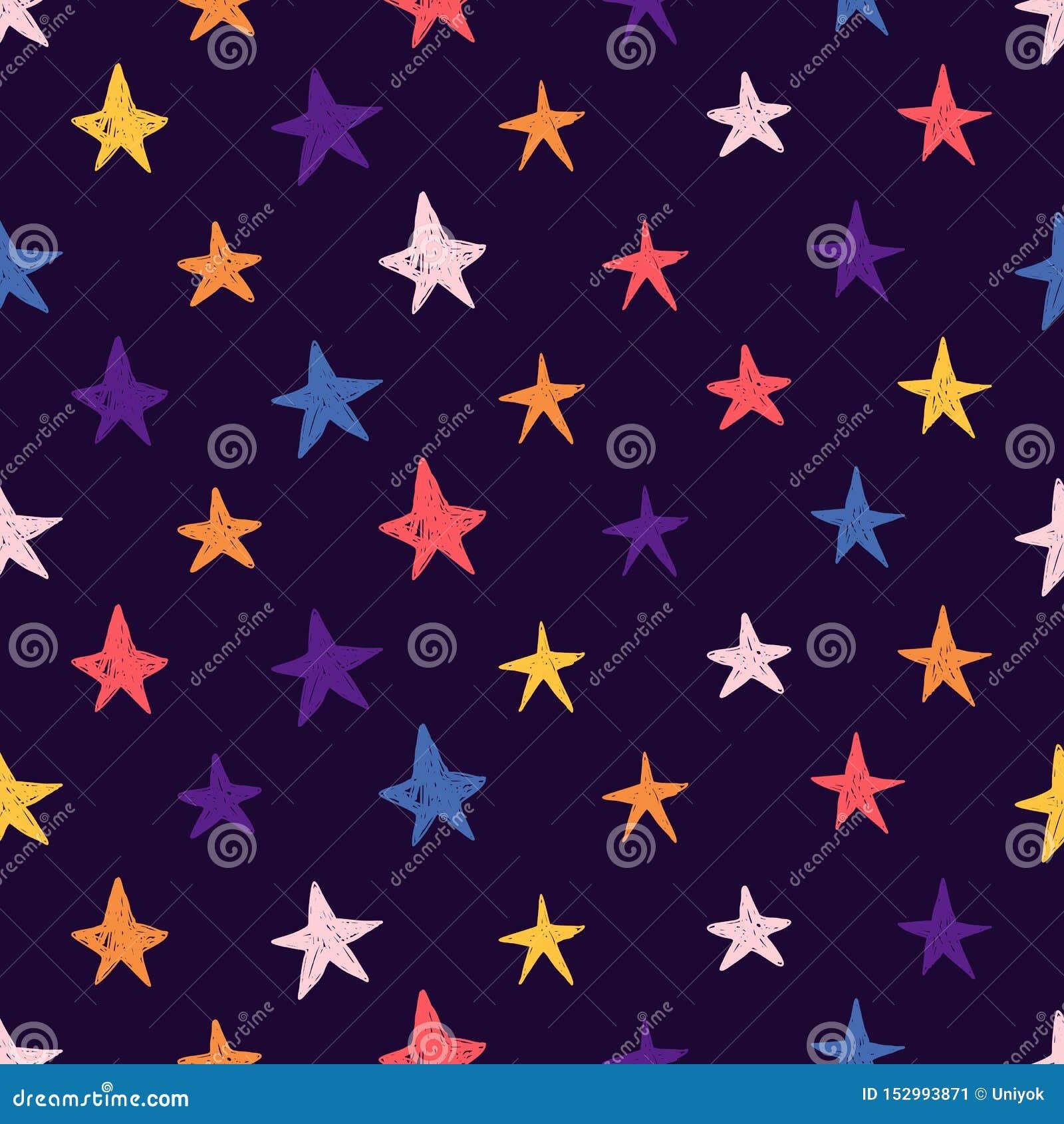 Χαριτωμένο άνευ ραφής σχέδιο με τα διαστημικά στοιχεία Ταπετσαρία ύφους κινούμενων σχεδίων με τα ζωηρόχρωμα κοσμικά αστέρια Υπόβα
