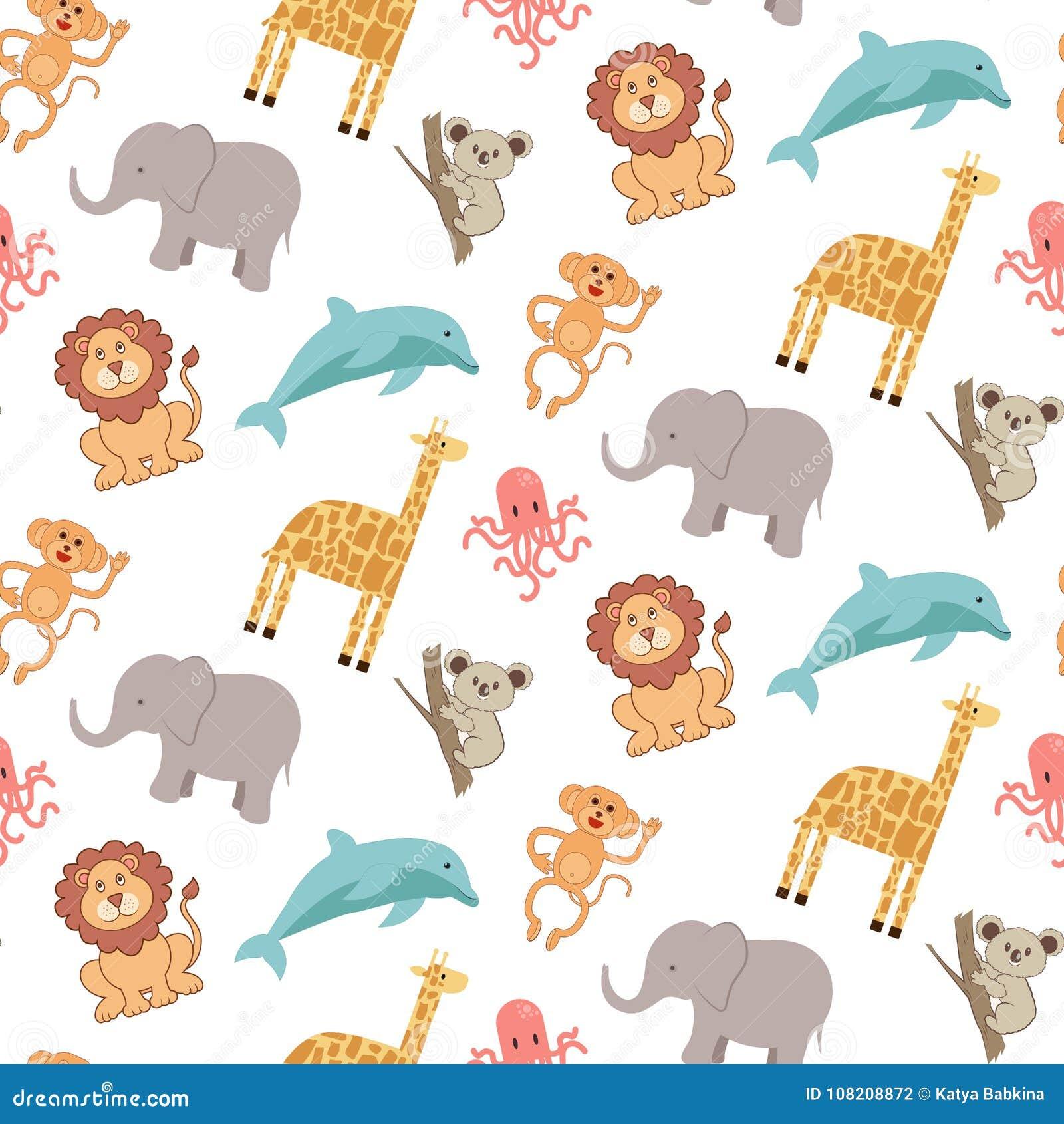 Χαριτωμένο άνευ ραφής σχέδιο με τα ζώα: ελέφαντας, giraffe, λιοντάρι, πίθηκος, koala, δελφίνι και χταπόδι