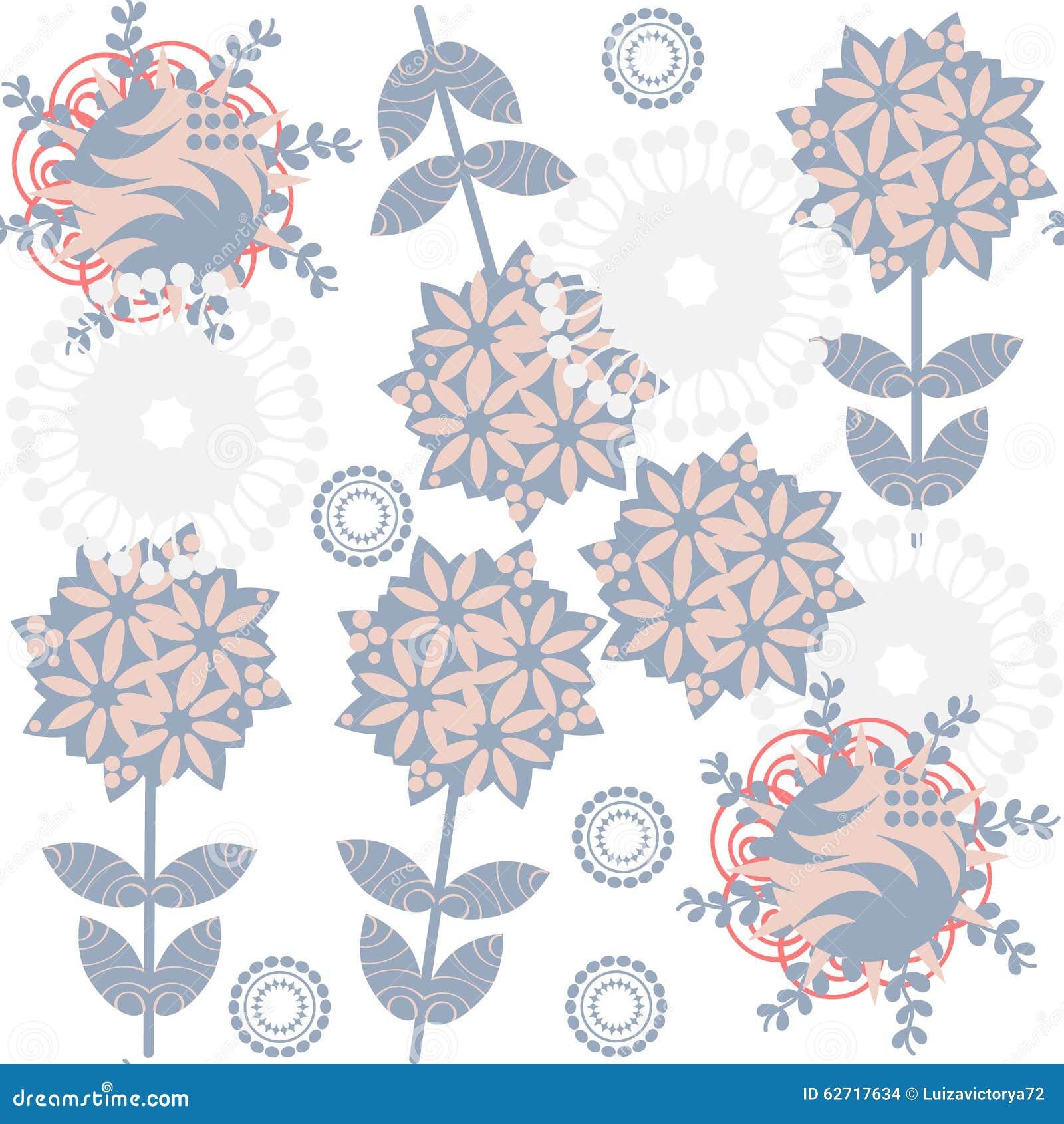 Χαριτωμένο αναδρομικό ευγενές floral άνευ ραφής σχέδιο με τα περίεργα λουλούδια και