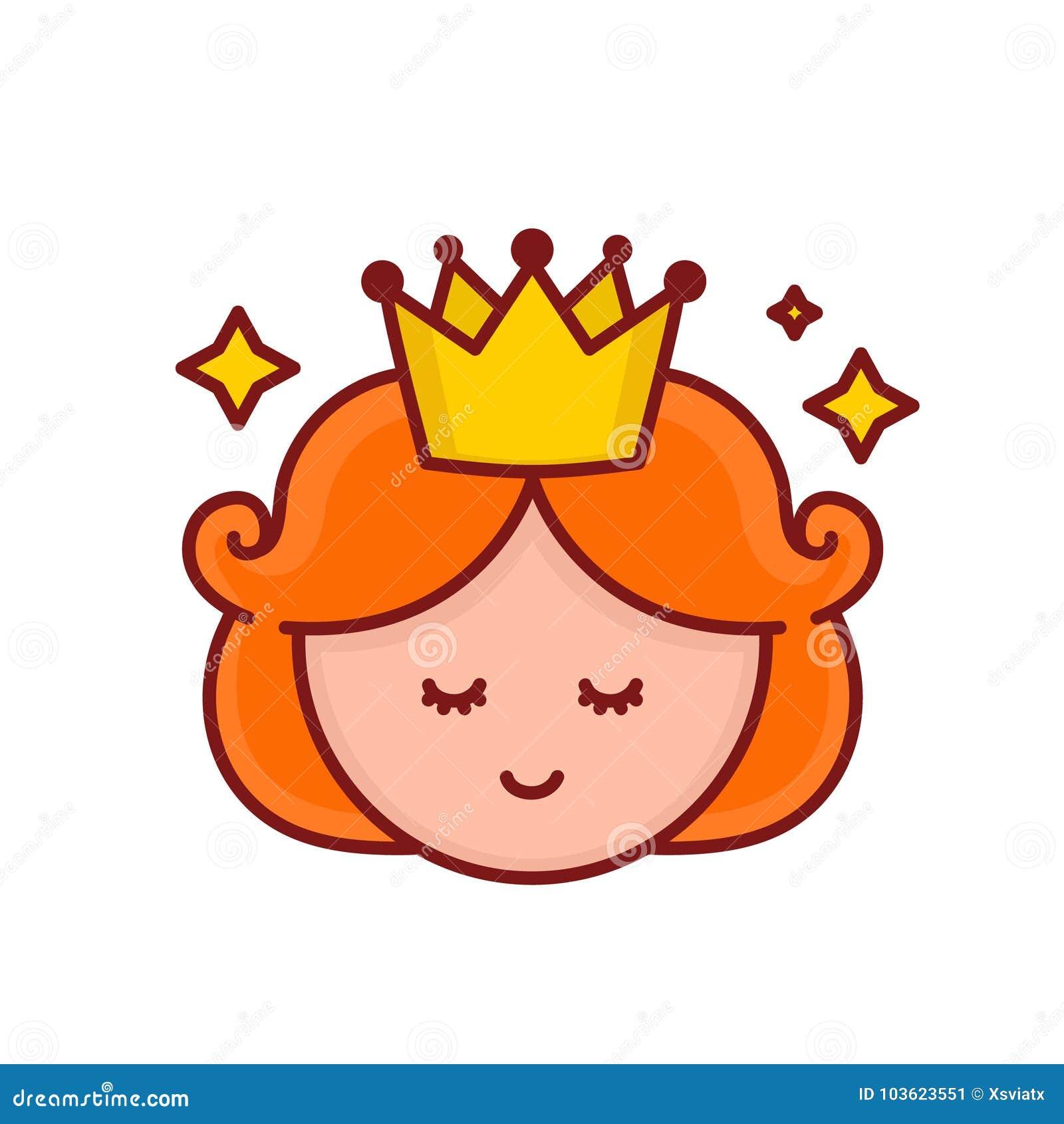 Χαριτωμένο αστείο πρόσωπο πριγκηπισσών κοριτσιών χαμόγελου διάνυσμα