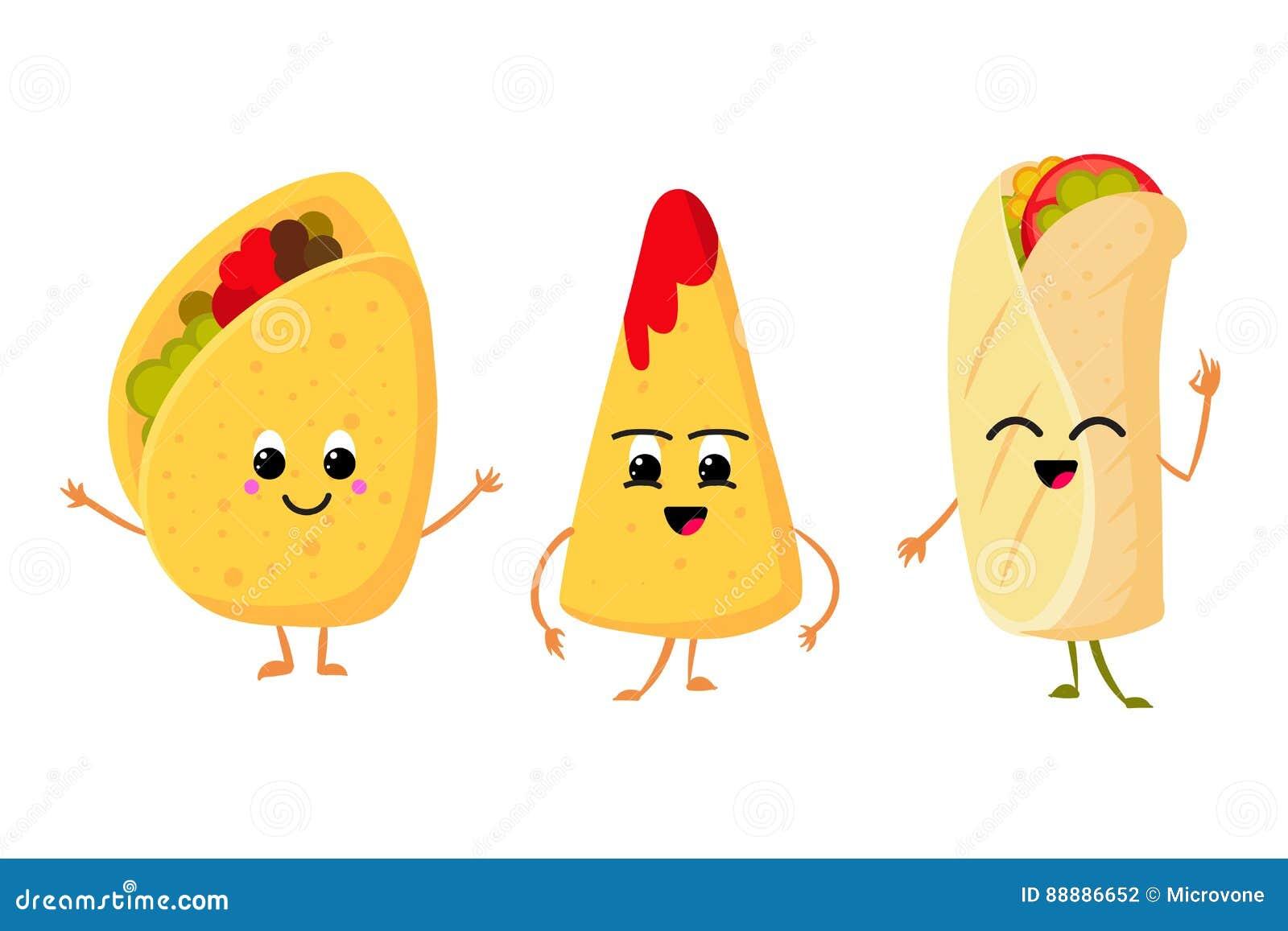 Χαριτωμένο αστείο taco, burrito και nachos καλαμποκιού με το χαμόγελο στο πρόσωπο φρέσκο διανυσματικό σύνολο τροφίμων μεσημεριανο