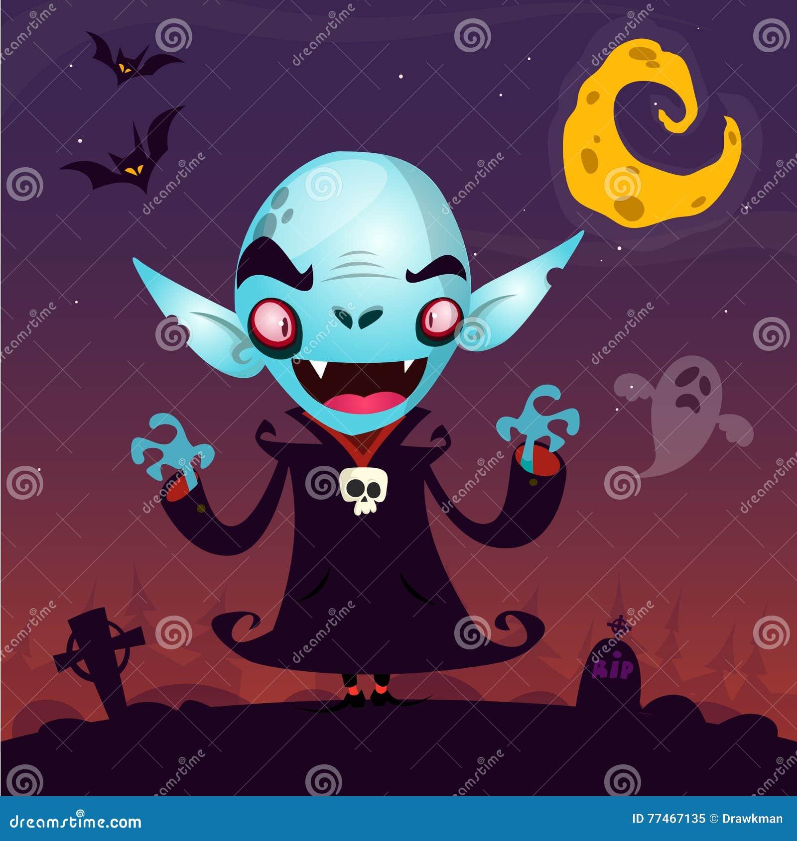 Χαριτωμένο βαμπίρ κινούμενων σχεδίων Χαρακτήρας βαμπίρ αποκριών στο σκοτεινό νεκροταφείο, το φάντασμα και το φεγγάρι υποβάθρου fi
