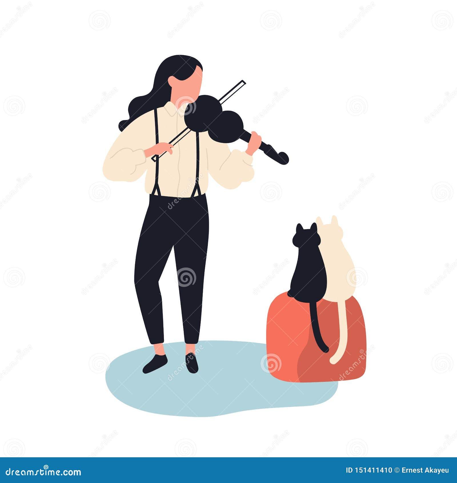 Χαριτωμένο βιολί παιχνιδιού κοριτσιών για τις γάτες της Αστείοι λατρευτοί θηλυκοί μουσικός και γατάκια που απομονώνονται στο άσπρ