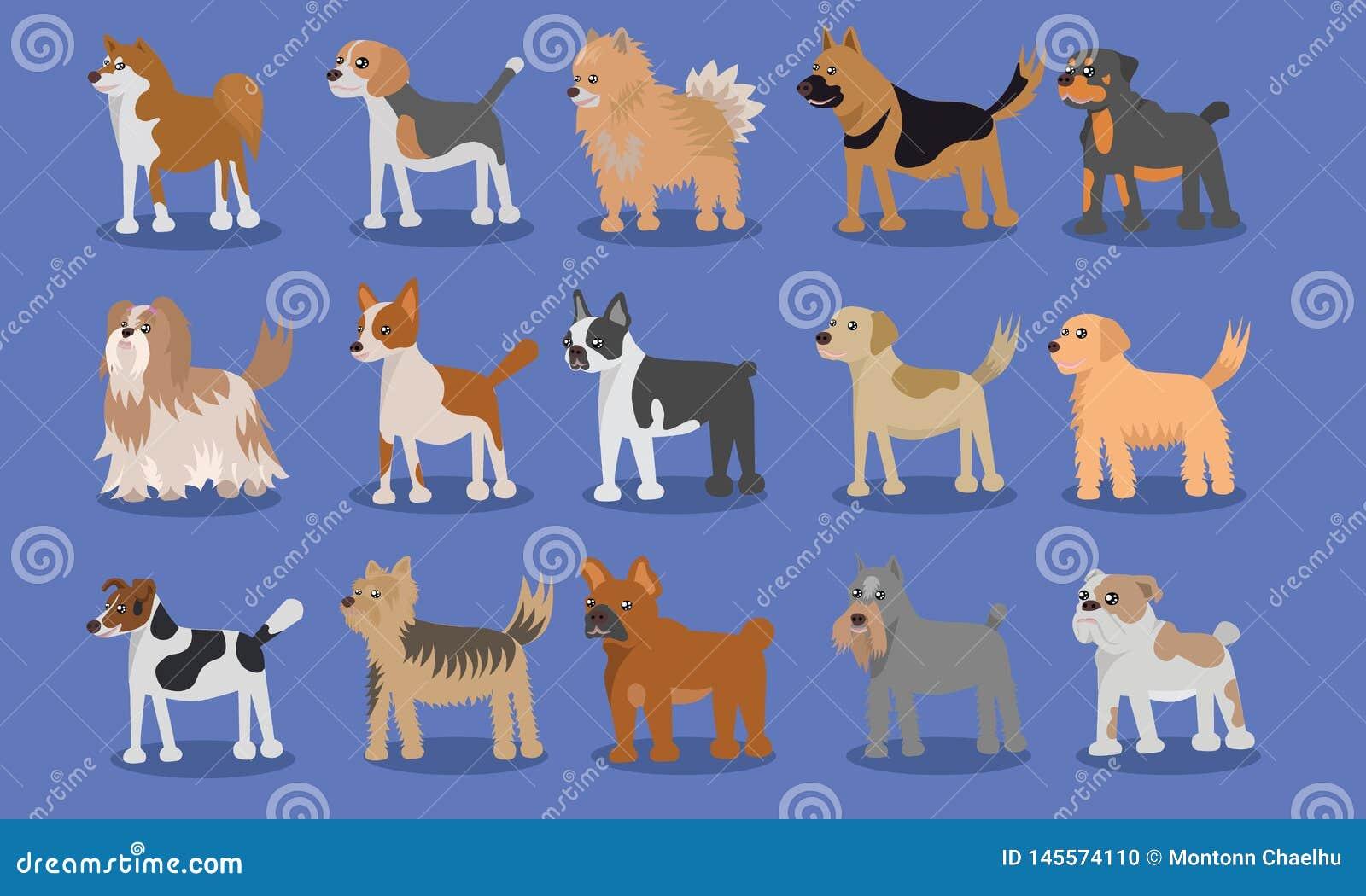 Χαριτωμένο διανυσματικό σχέδιο κινούμενων σχεδίων σκυλιών