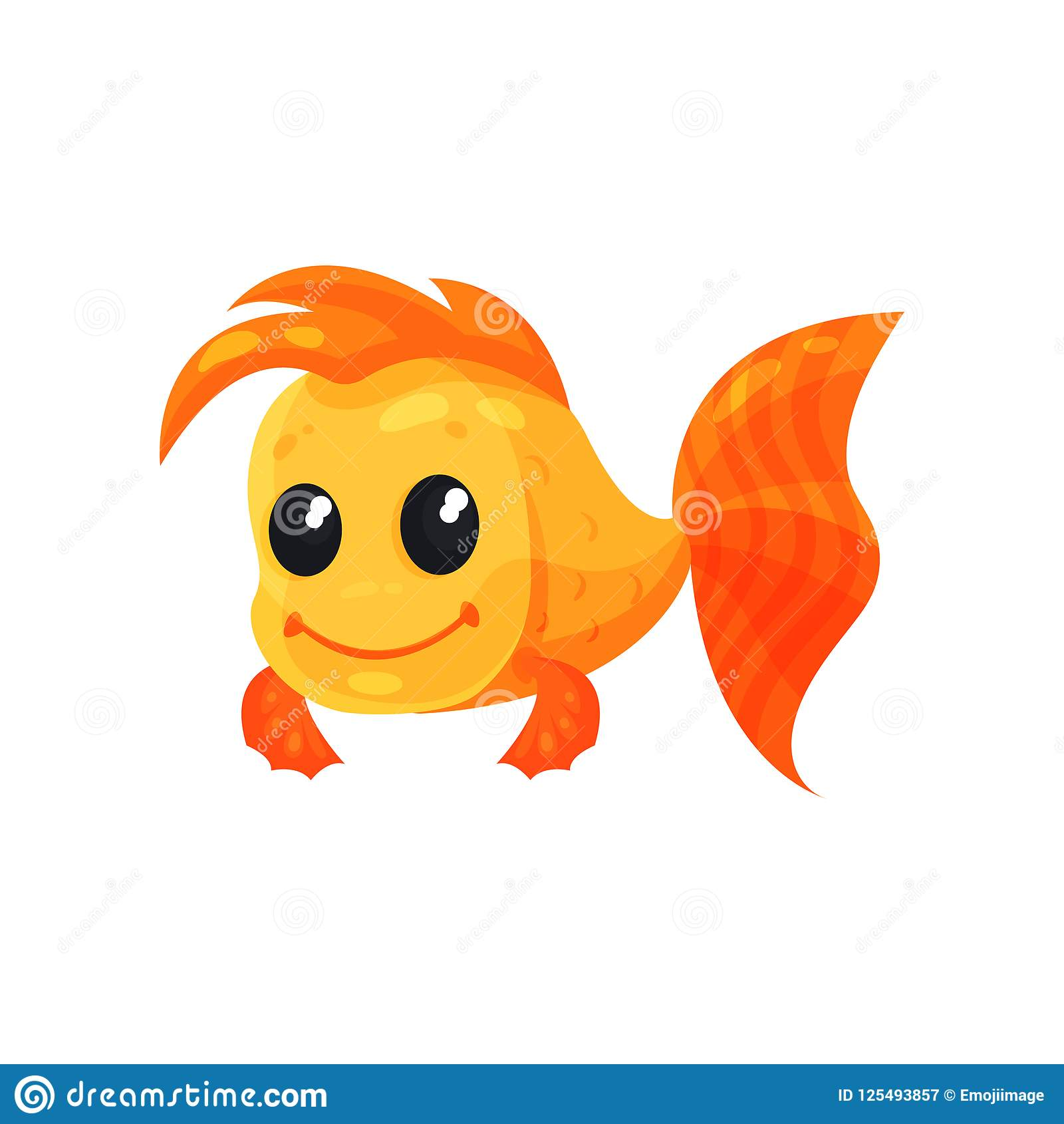 Χαριτωμένο εύθυμο goldfish, αστεία διανυσματική απεικόνιση χαρακτήρα κινουμένων σχεδίων ψαριών σε ένα άσπρο υπόβαθρο