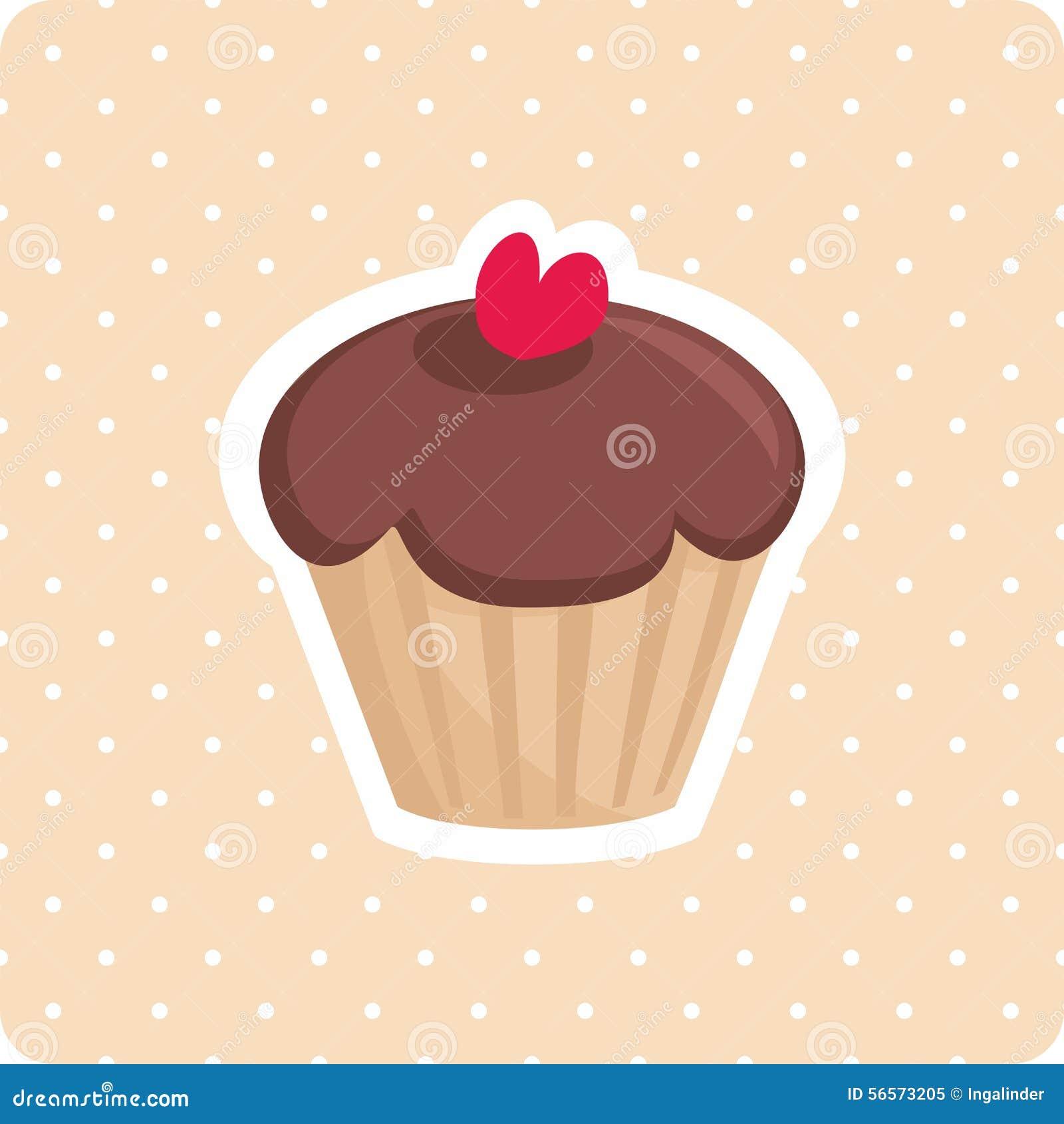 Download Χαριτωμένο διάνυσμα Cupcake με το άσπρο υπόβαθρο σημείων Πόλκα Διανυσματική απεικόνιση - εικονογραφία από cupcake, ανασκόπησης: 56573205