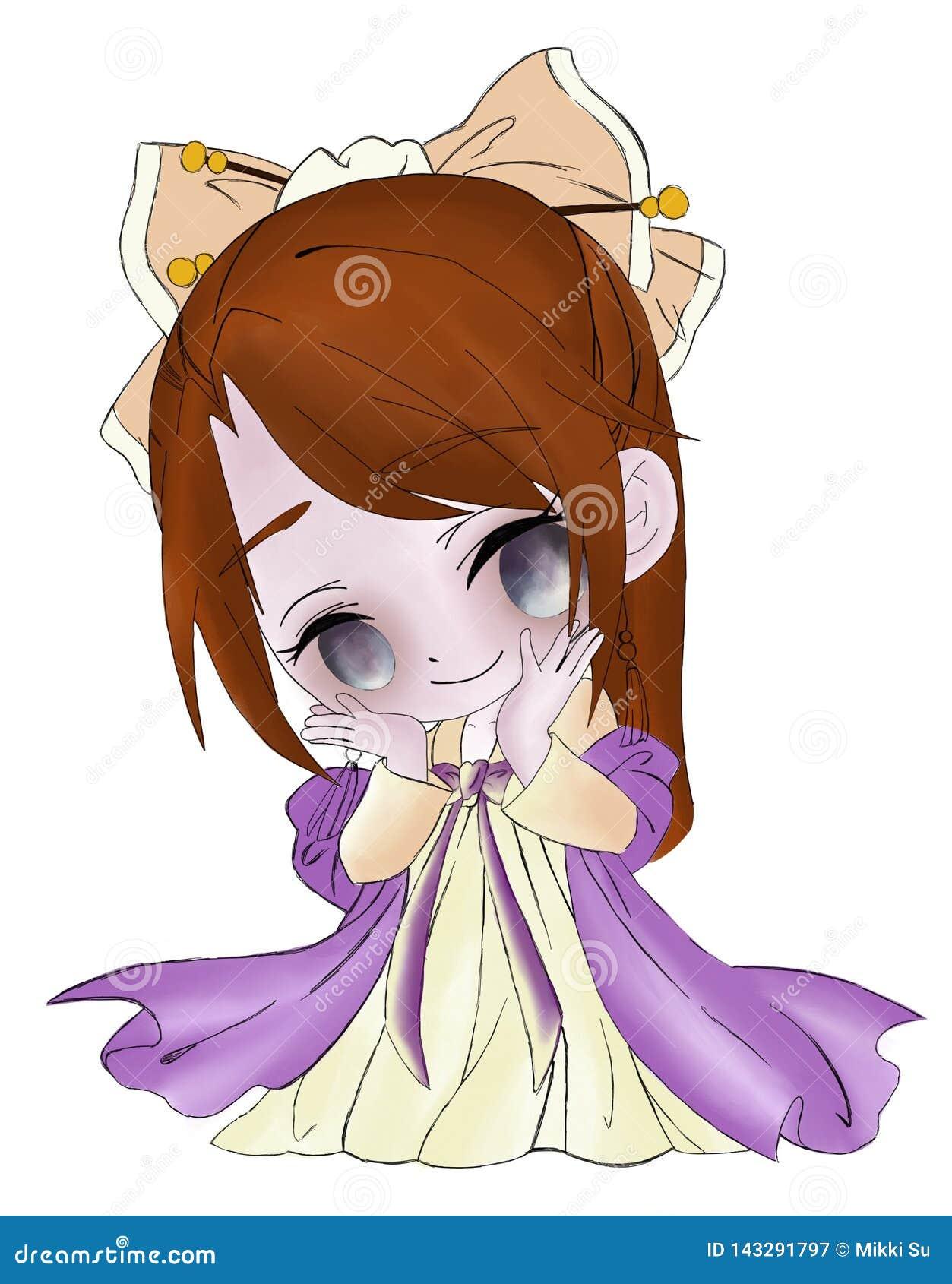 Χαριτωμένο κορίτσι σε ένα φόρεμα με ένα τόξο στο κεφάλι της