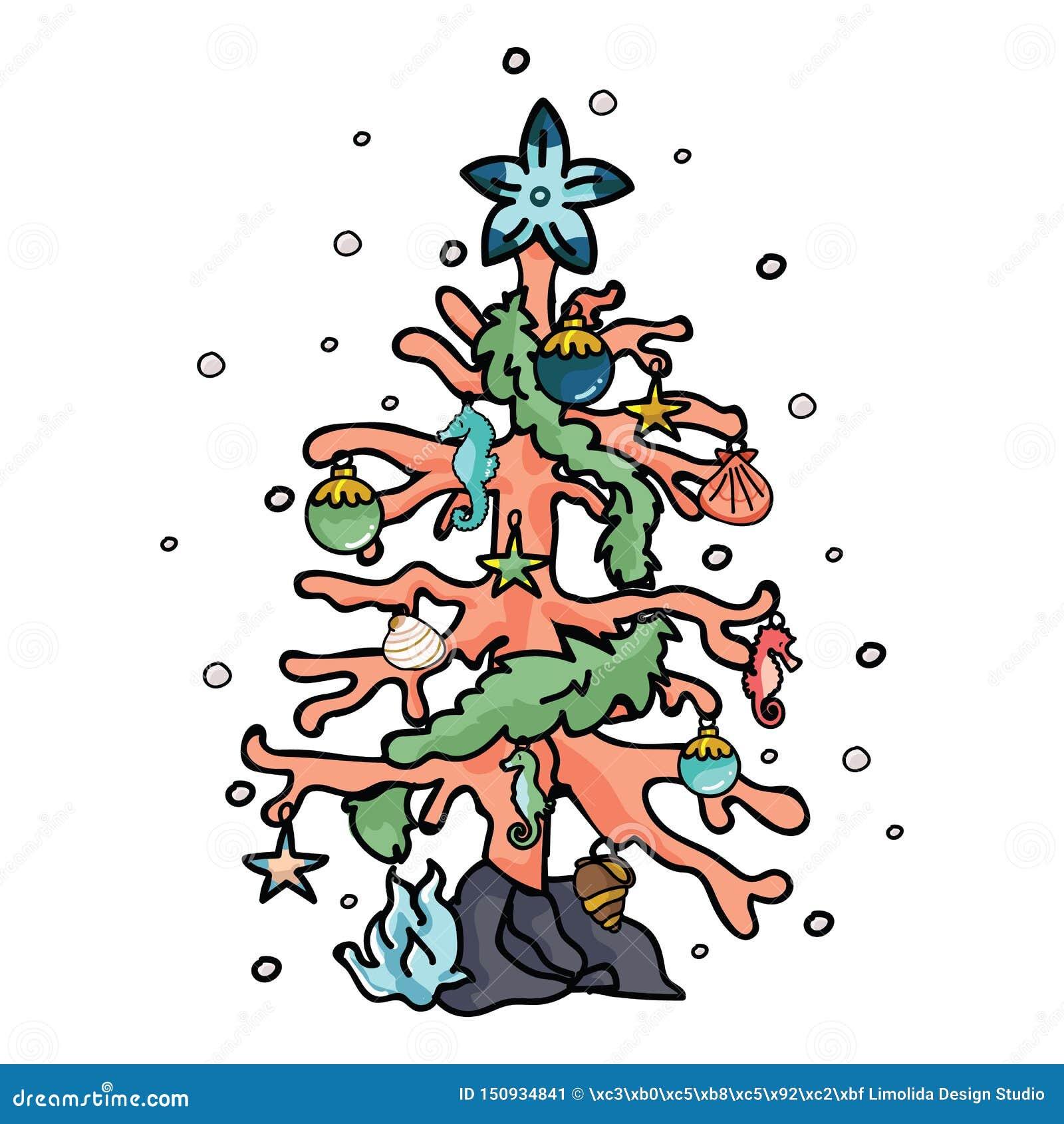 Χαριτωμένο κοραλλιογενών υφάλων χριστουγεννιάτικων δέντρων σύνολο μοτίβου απεικόνισης κινούμενων σχεδίων διανυσματικό Συρμένα χέρ