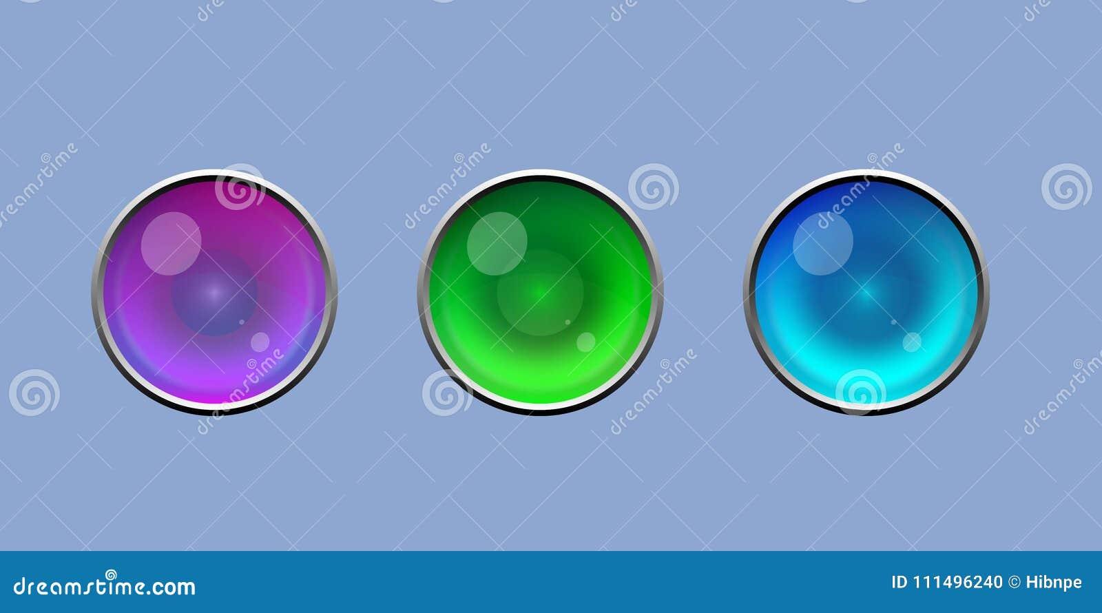 Χαριτωμένο λαμπρό κουμπί ματιών με το ασημένιο διανυσματικό σύνολο συνόρων