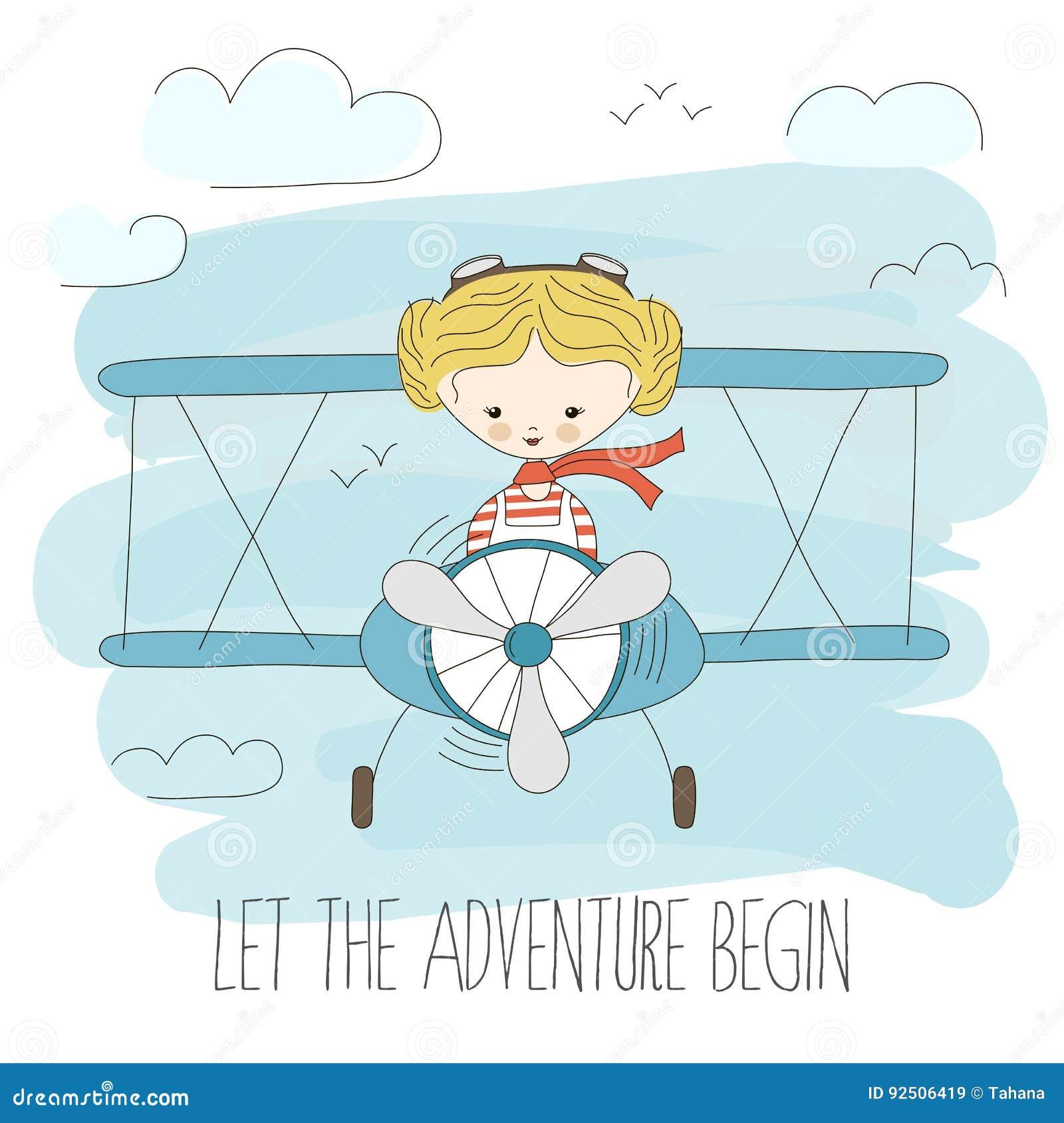 Χαριτωμένο μικρό κορίτσι που οδηγά ένα αεροπλάνο στον ουρανό Συρμένη χέρι διανυσματική απεικόνιση κινούμενων σχεδίων Αφήστε την π