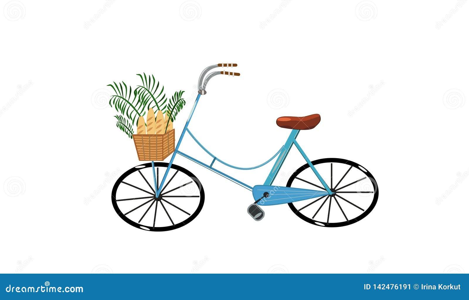 Χαριτωμένο μπλε ποδήλατο με το σύνολο καλαθιών των ψωμιών και των εγκαταστάσεων