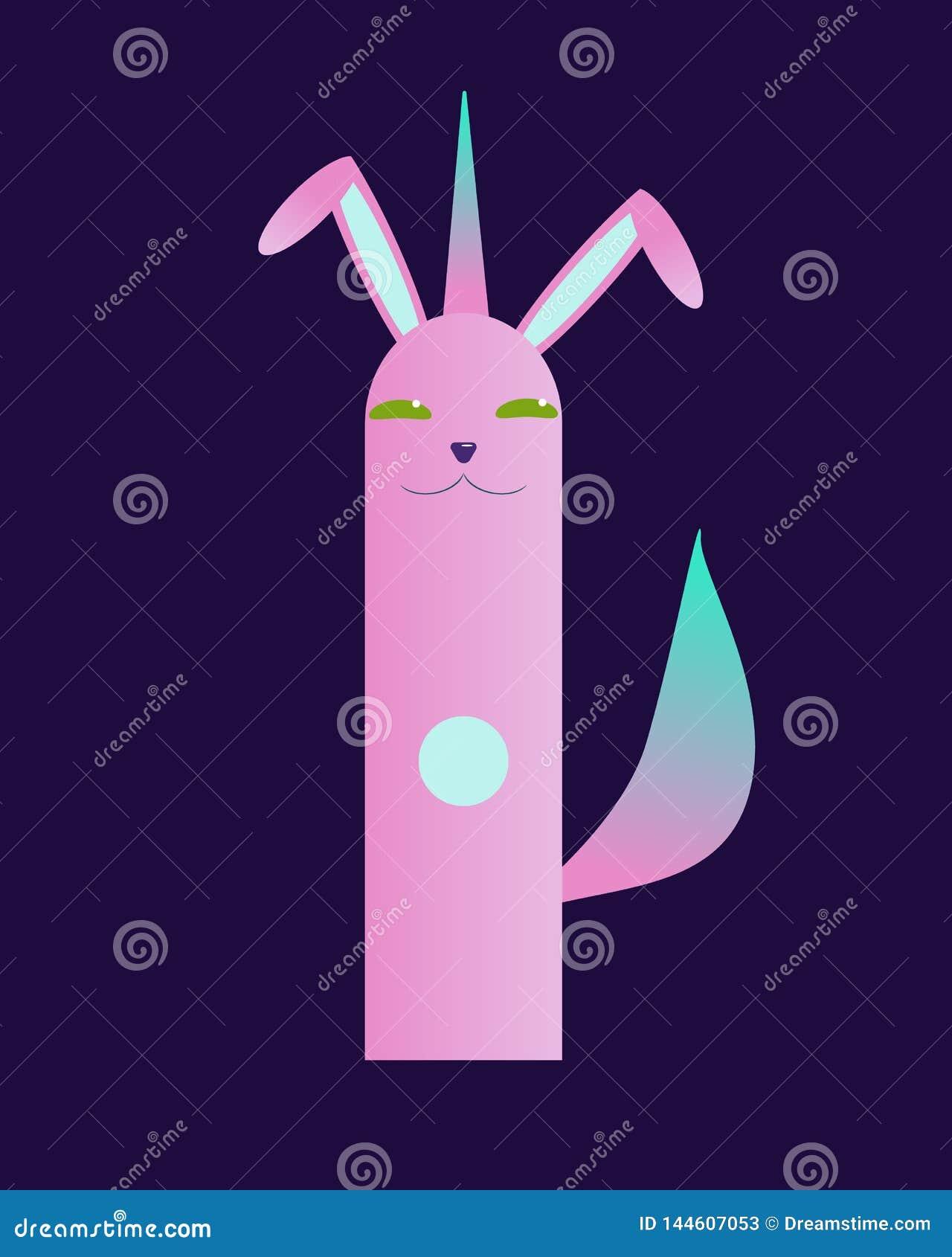 Χαριτωμένο Πάσχα rebbit με την ουρά μονοκέρων και