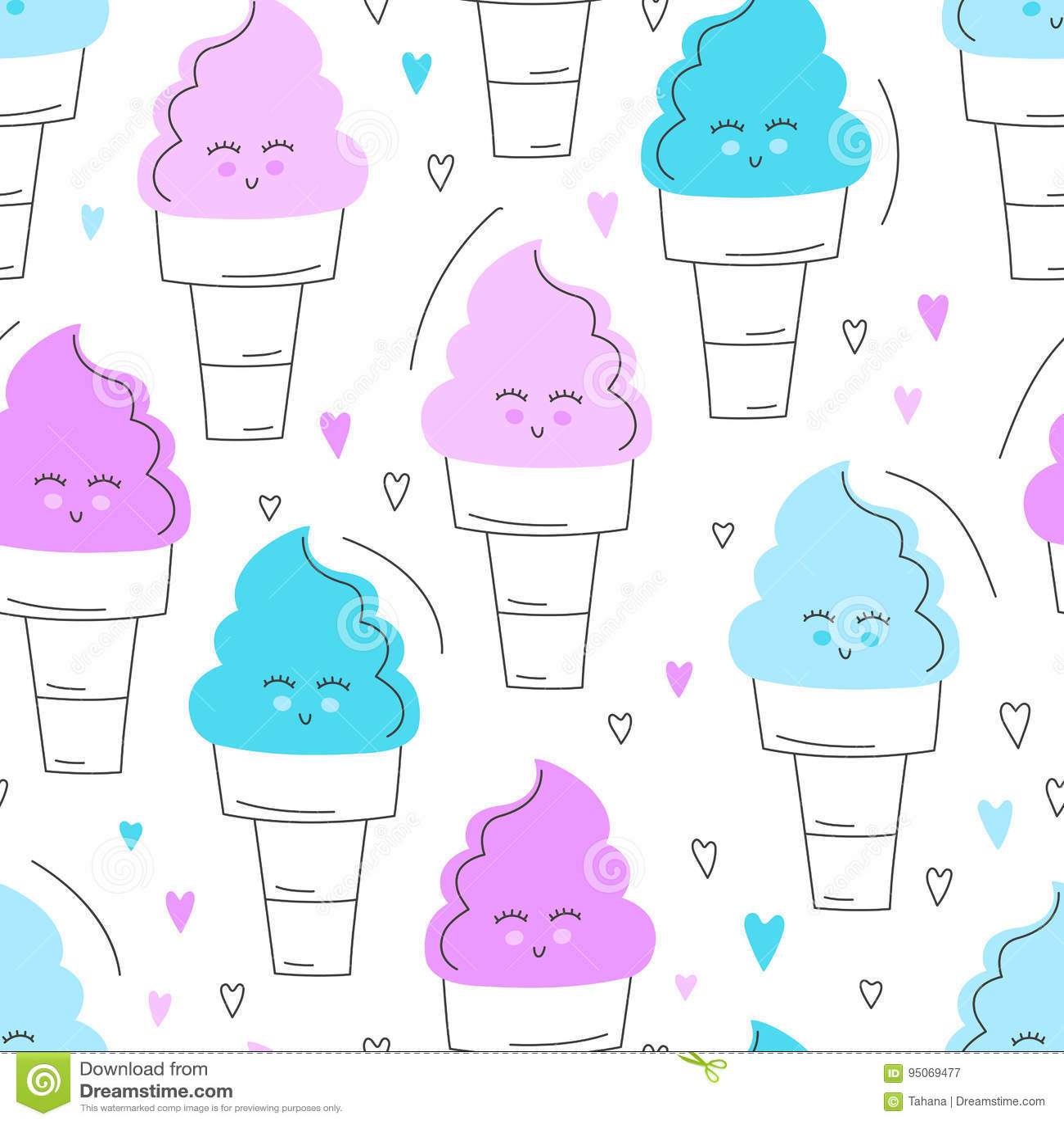 Χαριτωμένο συρμένο χέρι άνευ ραφής σχέδιο παγωτού Γλυκό διανυσματικό υπόβαθρο τροφίμων Εύγευστο θερινό σχέδιο Τύλιγμα, τυπωμένη ύ