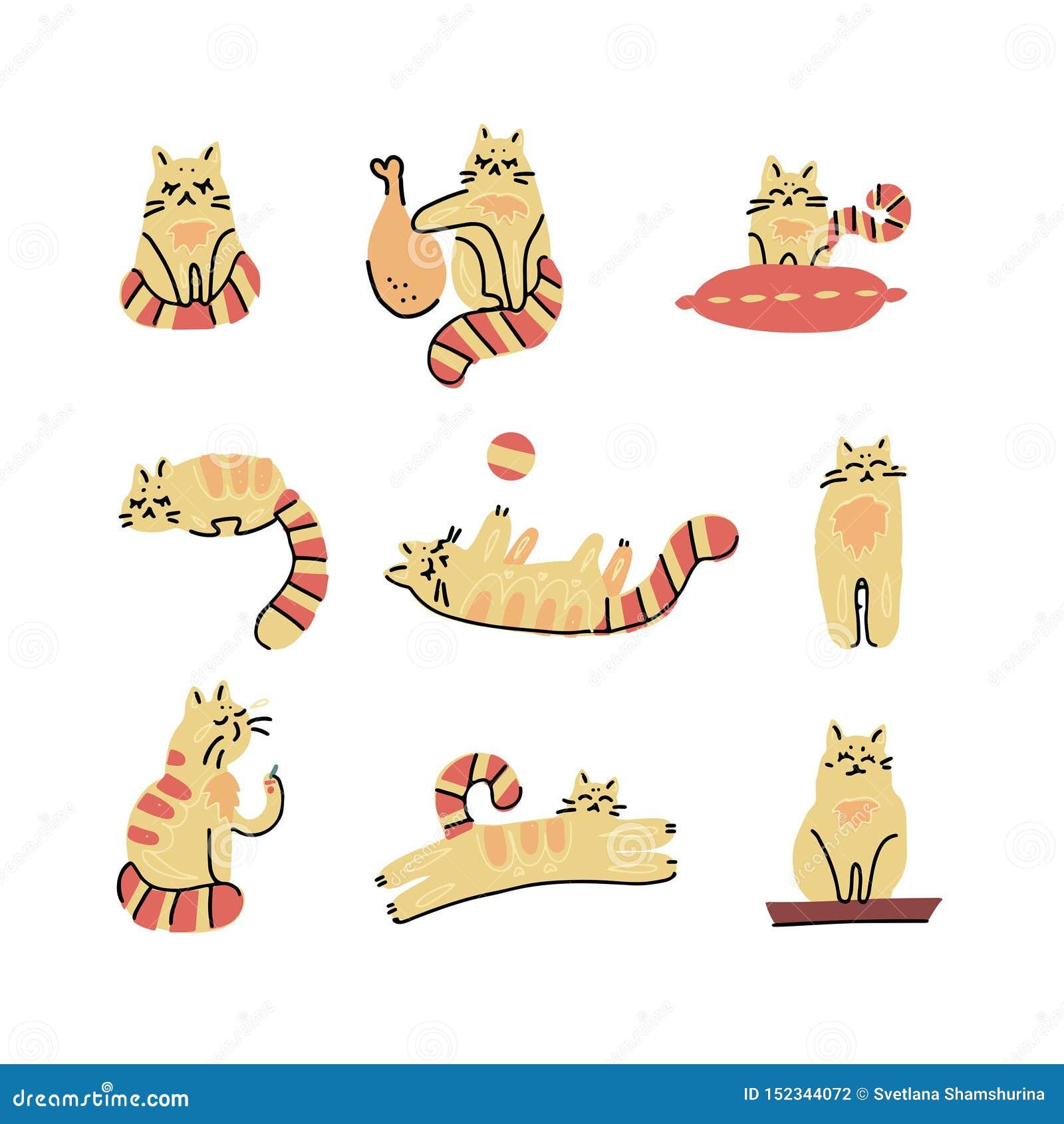 Χαριτωμένο συρμένο χέρι ύφος κινούμενων σχεδίων γατών, για την εκτύπωση, κάρτα, μπλούζα, διανυσματική Σκανδιναβική απεικόνιση εμβ