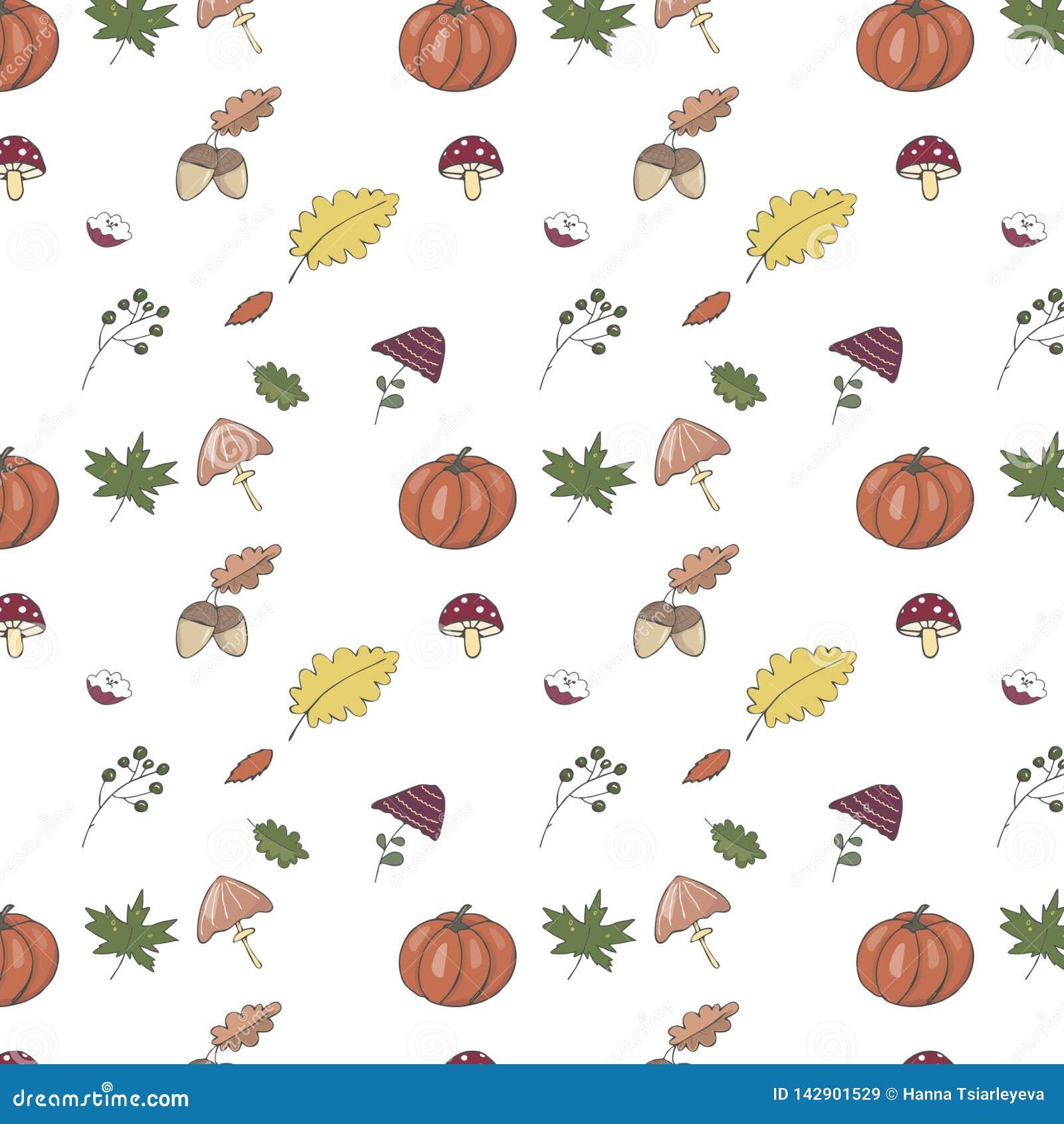 Χαριτωμένο σχέδιο με την πορτοκαλιά κολοκύθα, κίτρινα φύλλα, μανιτάρια, πράσινο φύλλο, καρύδι, βαλανιδιά, βελανίδι Για την εποχή