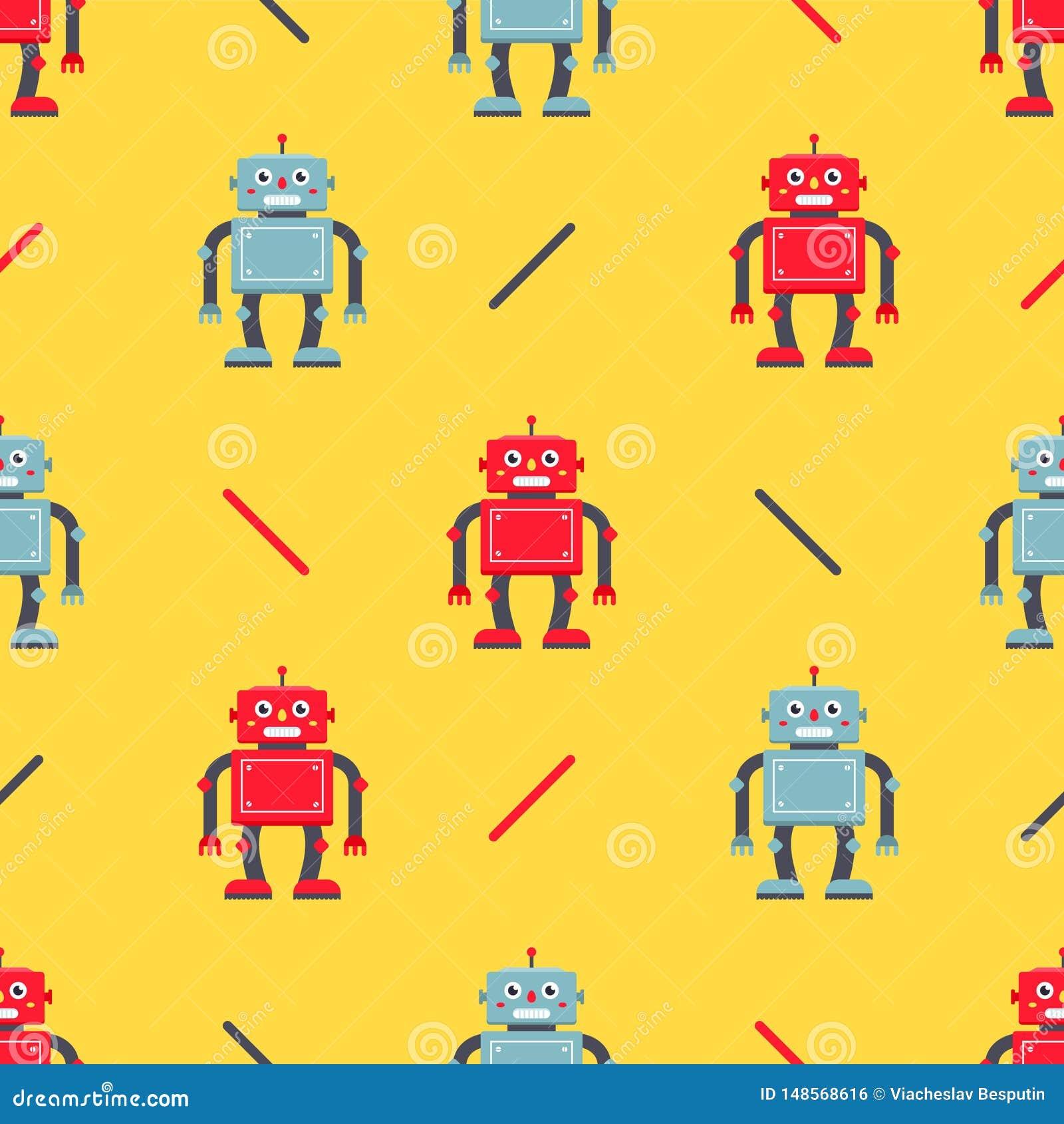 Χαριτωμένο σχέδιο ρομπότ σε ένα κίτρινο υπόβαθρο