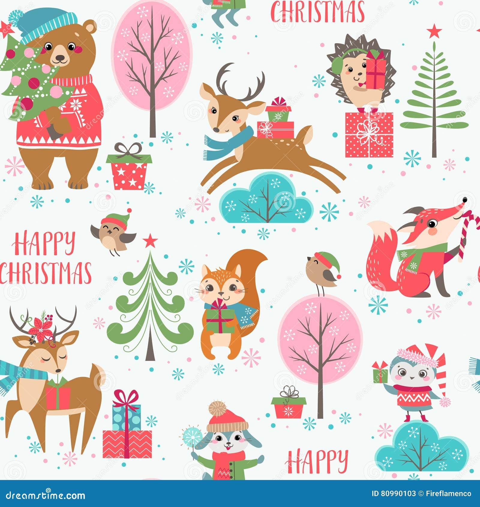 Χαριτωμένο σχέδιο ζώων Χριστουγέννων