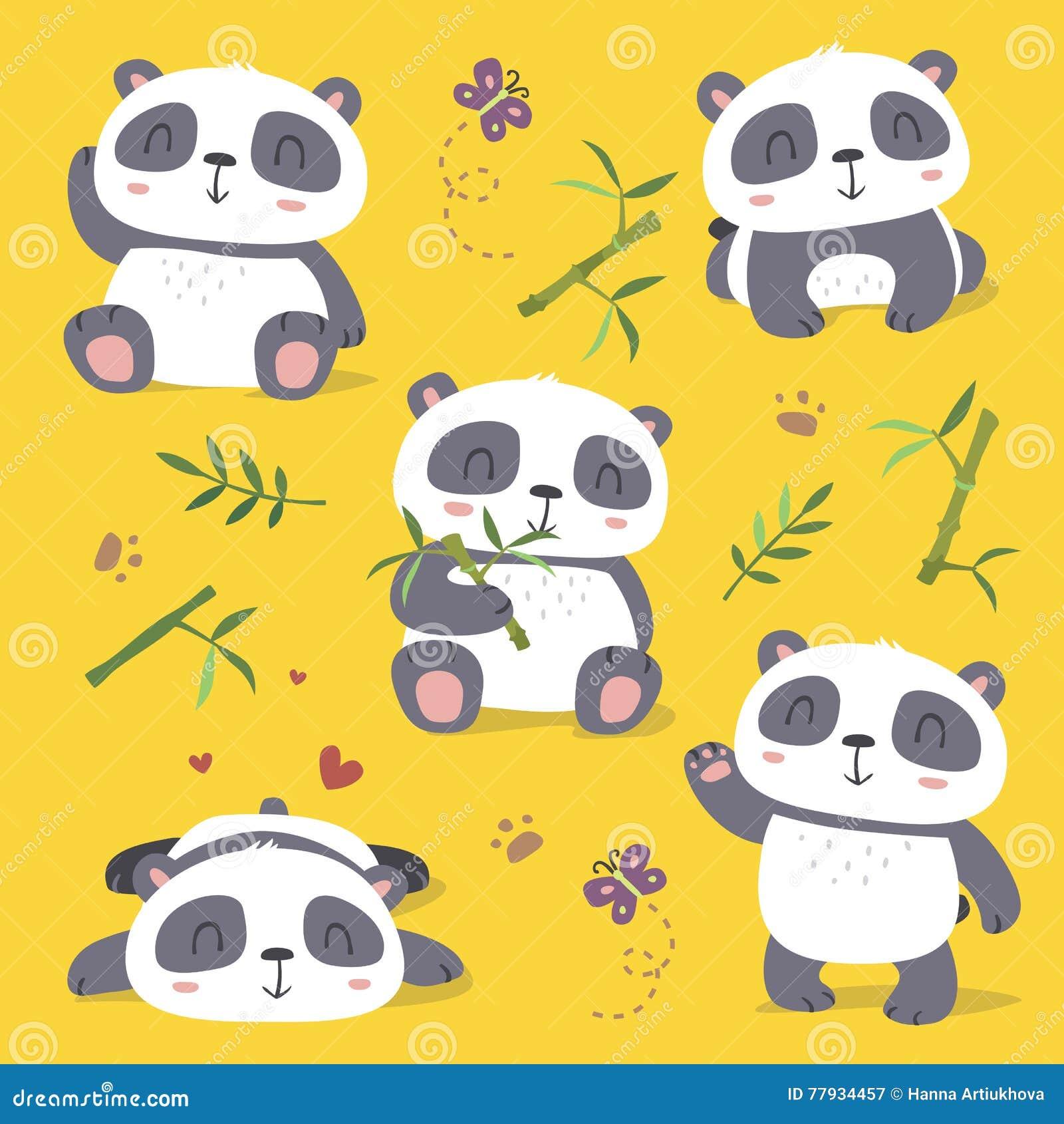 χαριτωμένο σύνολο panda ύφους κινούμενων σχεδίων
