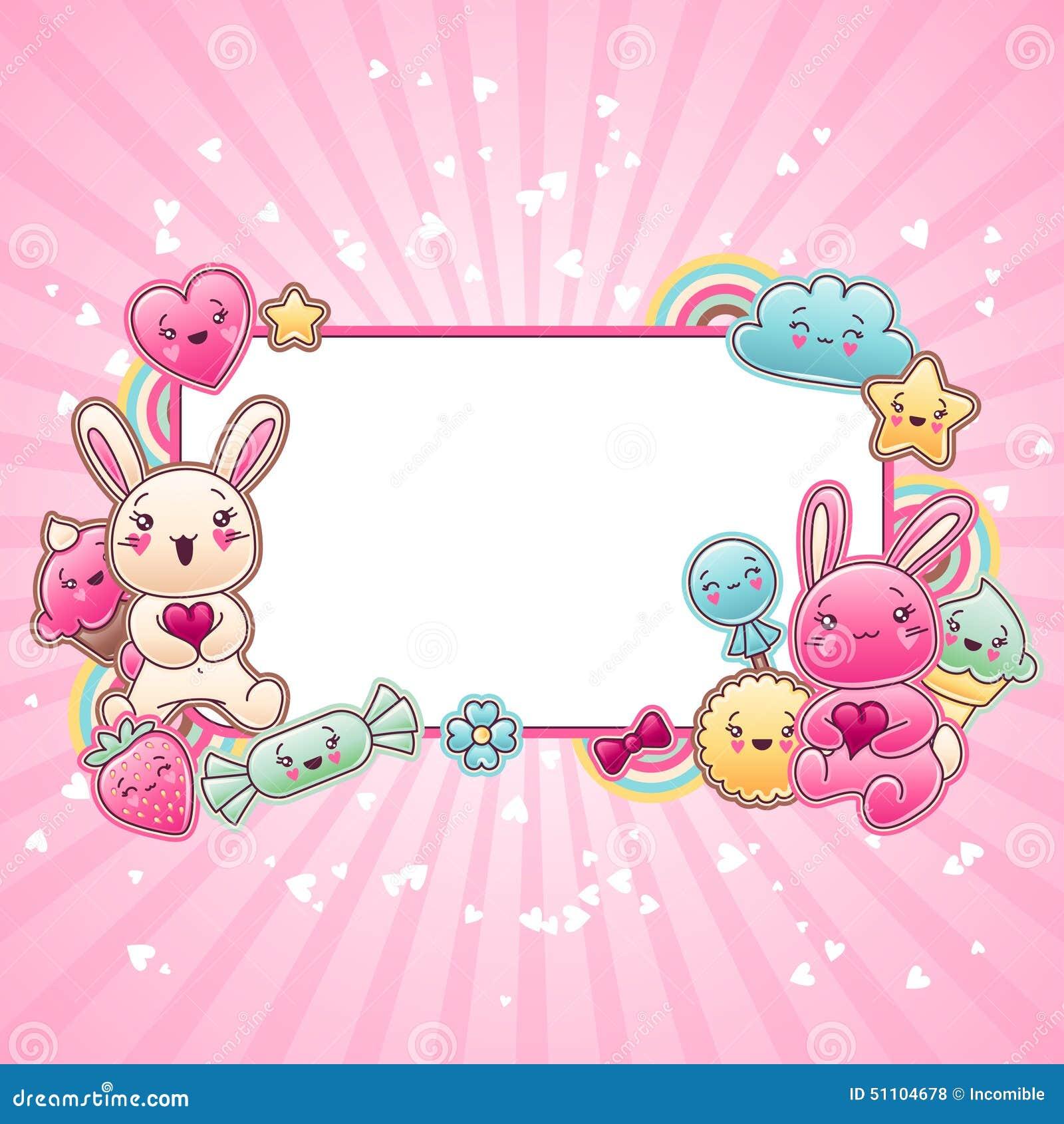 Χαριτωμένο υπόβαθρο παιδιών με το kawaii doodles