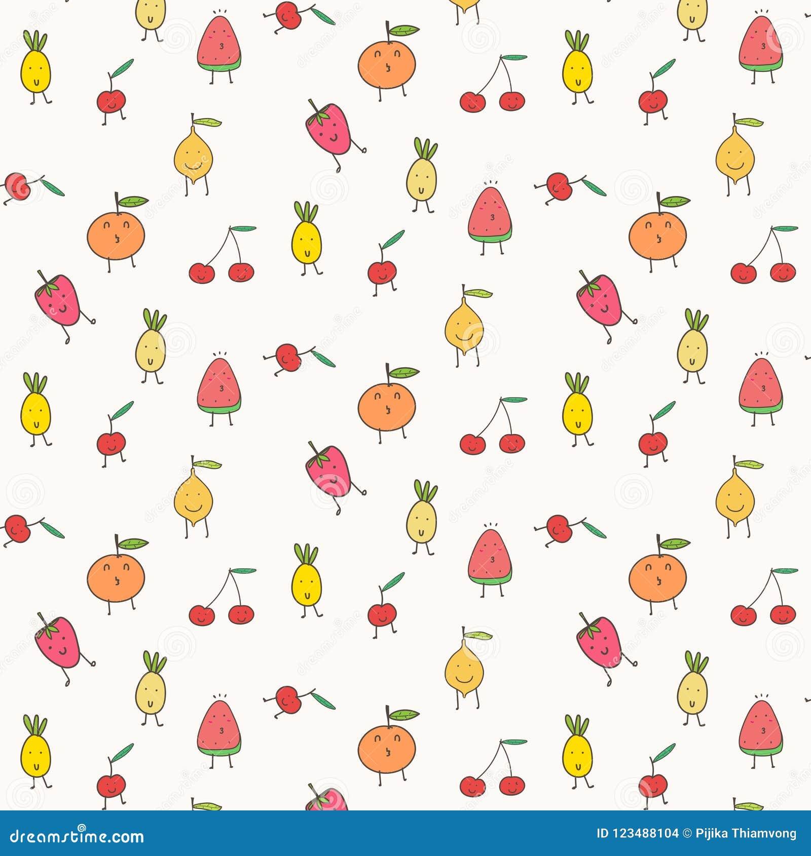 Χαριτωμένο υπόβαθρο σχεδίων φρούτων