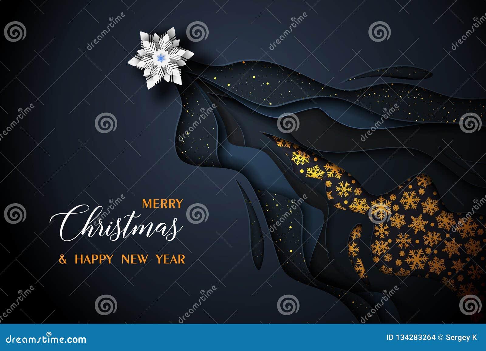 Χαρούμενα Χριστούγεννα και διανυσματικό μαύρο και χρυσό σχέδιο καλής χρονιάς 2019