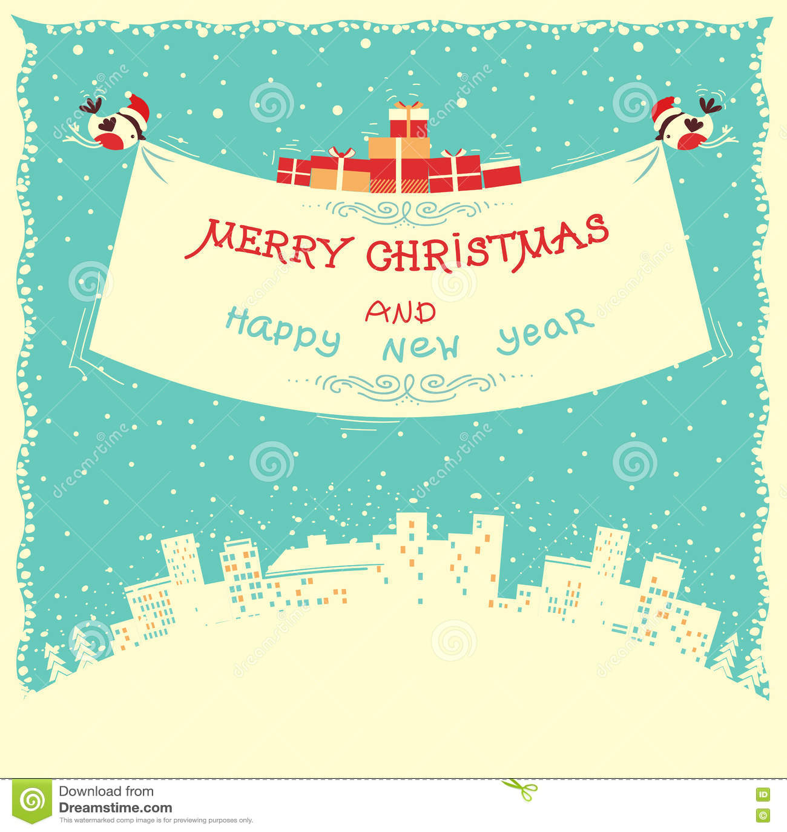 Χαρούμενα Χριστούγεννα και νέα κάρτα έτους με το πέταγμα bullfinches