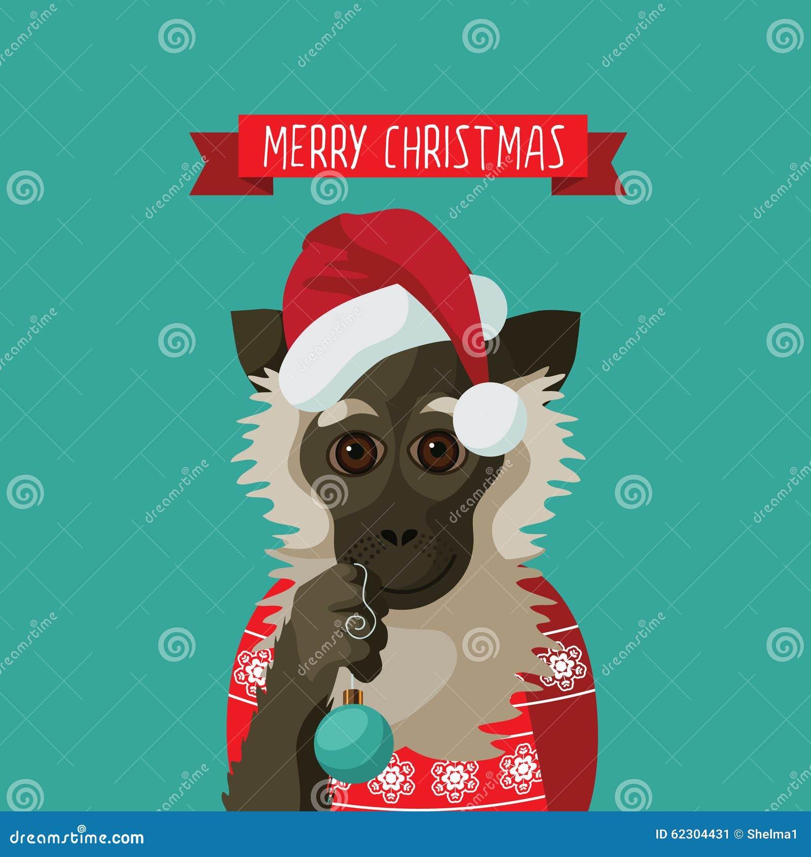 Χαρούμενα Χριστούγεννα που χαμογελά τον πίθηκο κινούμενων σχεδίων